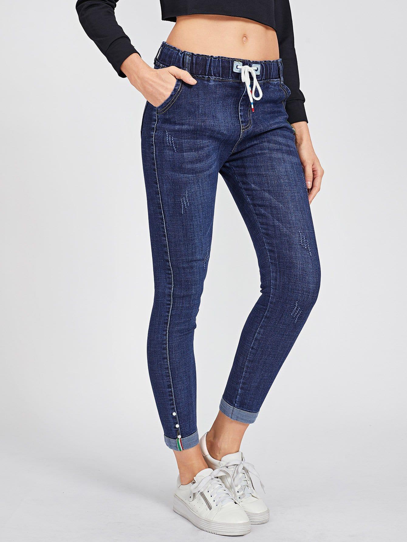Pearls Detail Drawstring Jeans