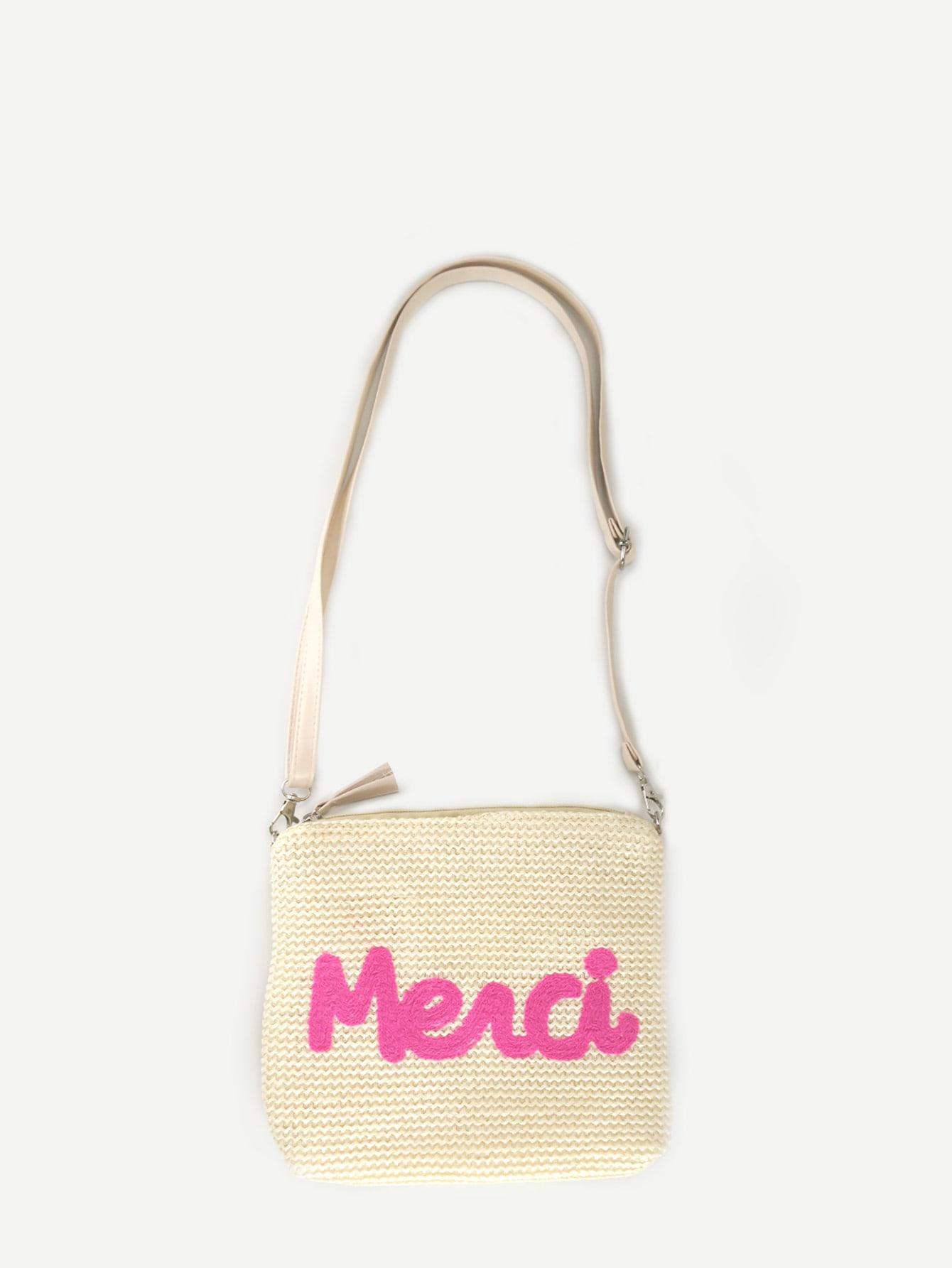 Купить Соломенная сумка с украшением заплаты буквы для девочки, null, SheIn