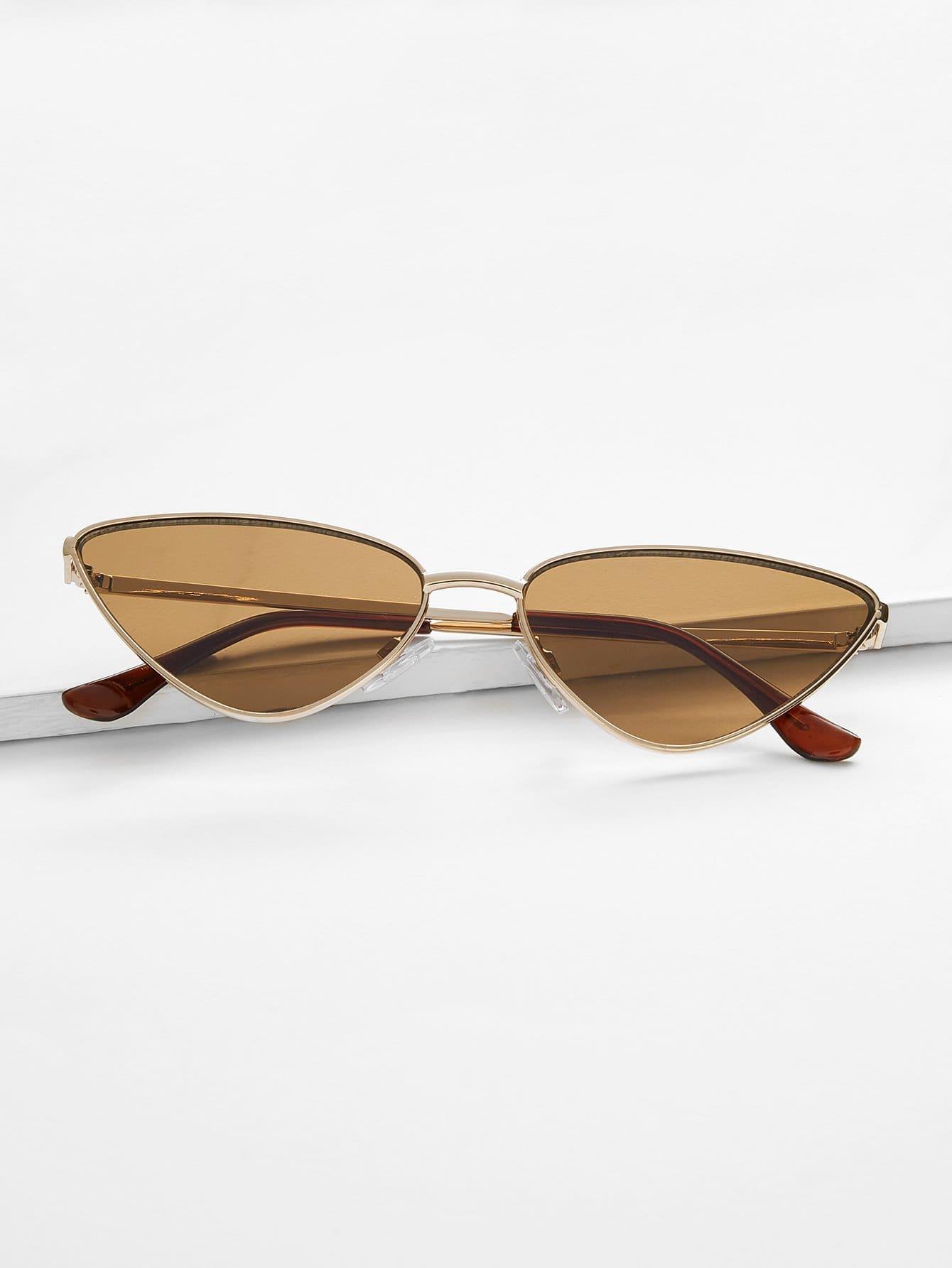 Купить Солнцезащитные очки с металлическими оправами и в форме глаза кота, null, SheIn