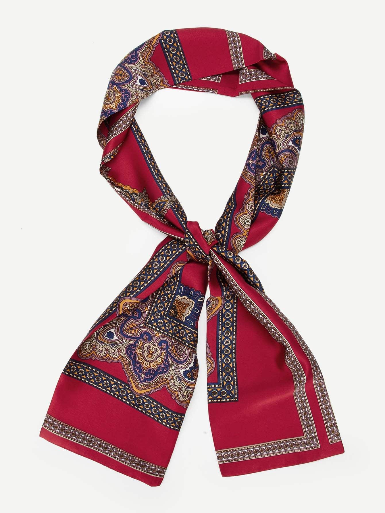 Купить Для мужчин тощий шарф со смешанной печатью, null, SheIn