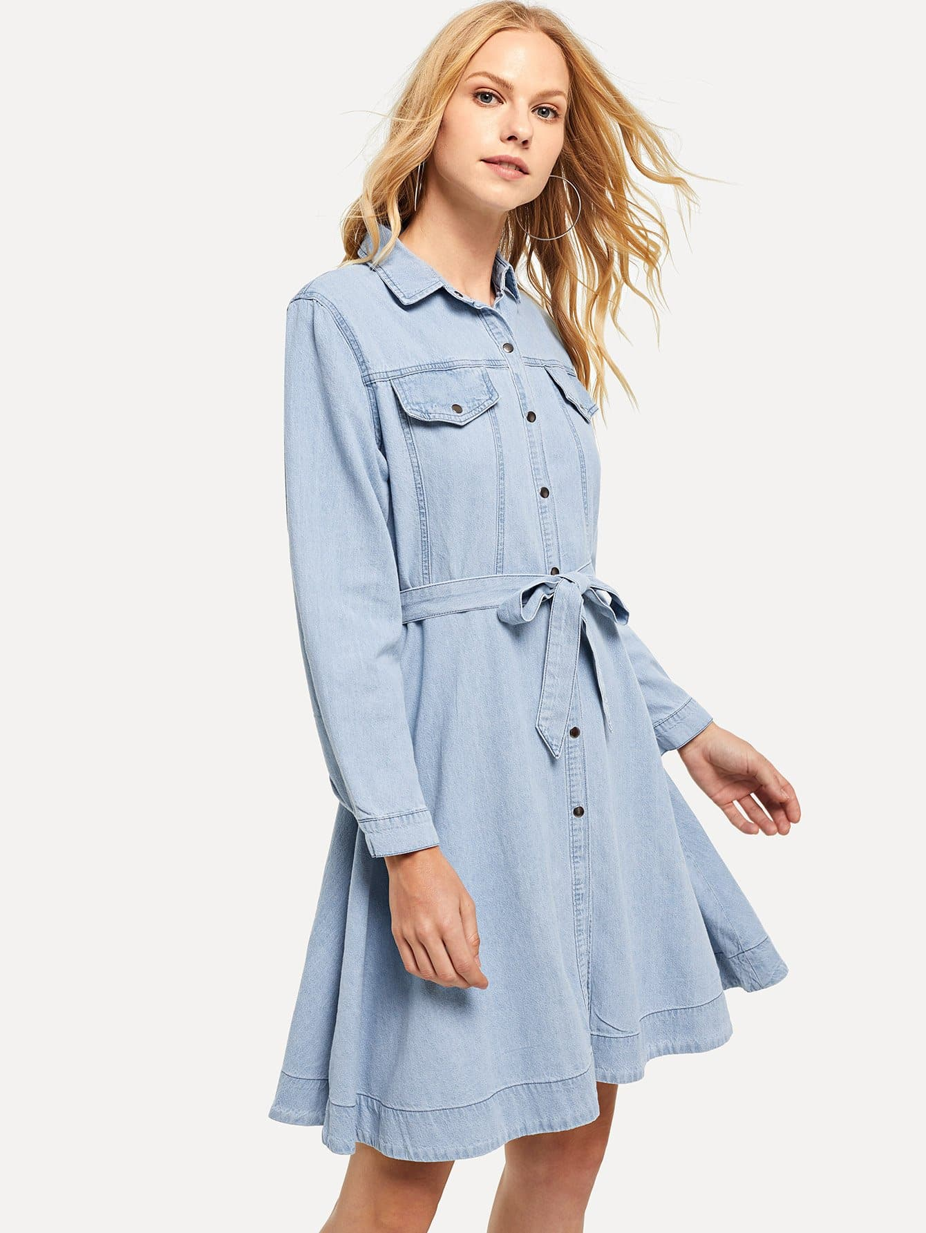 Купить Джинсовое платье-рубашки с поясом, Denisa, SheIn