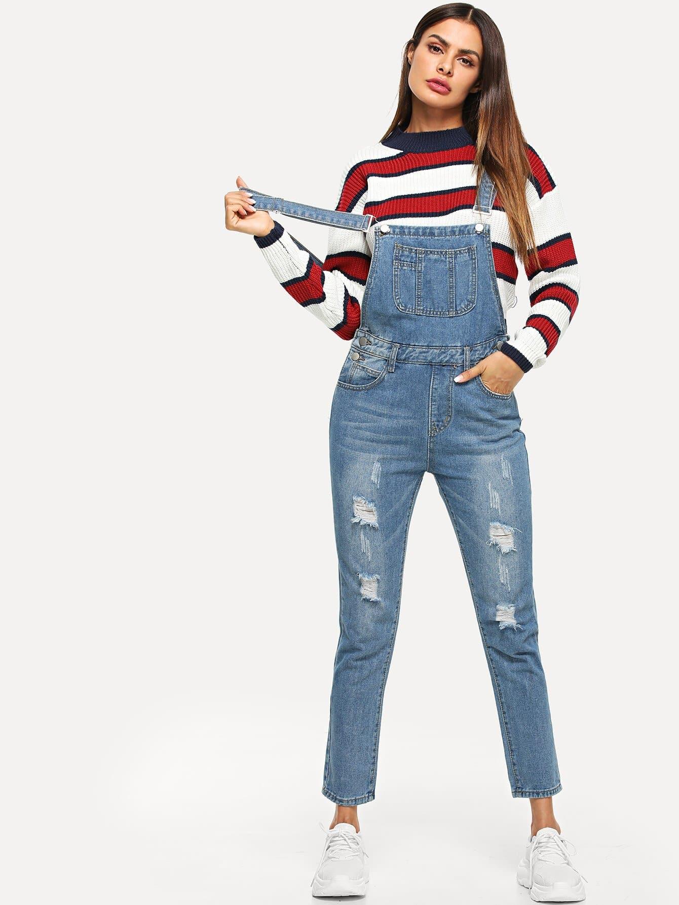 Купить Рваный джинсовый комбинезон, Andy, SheIn