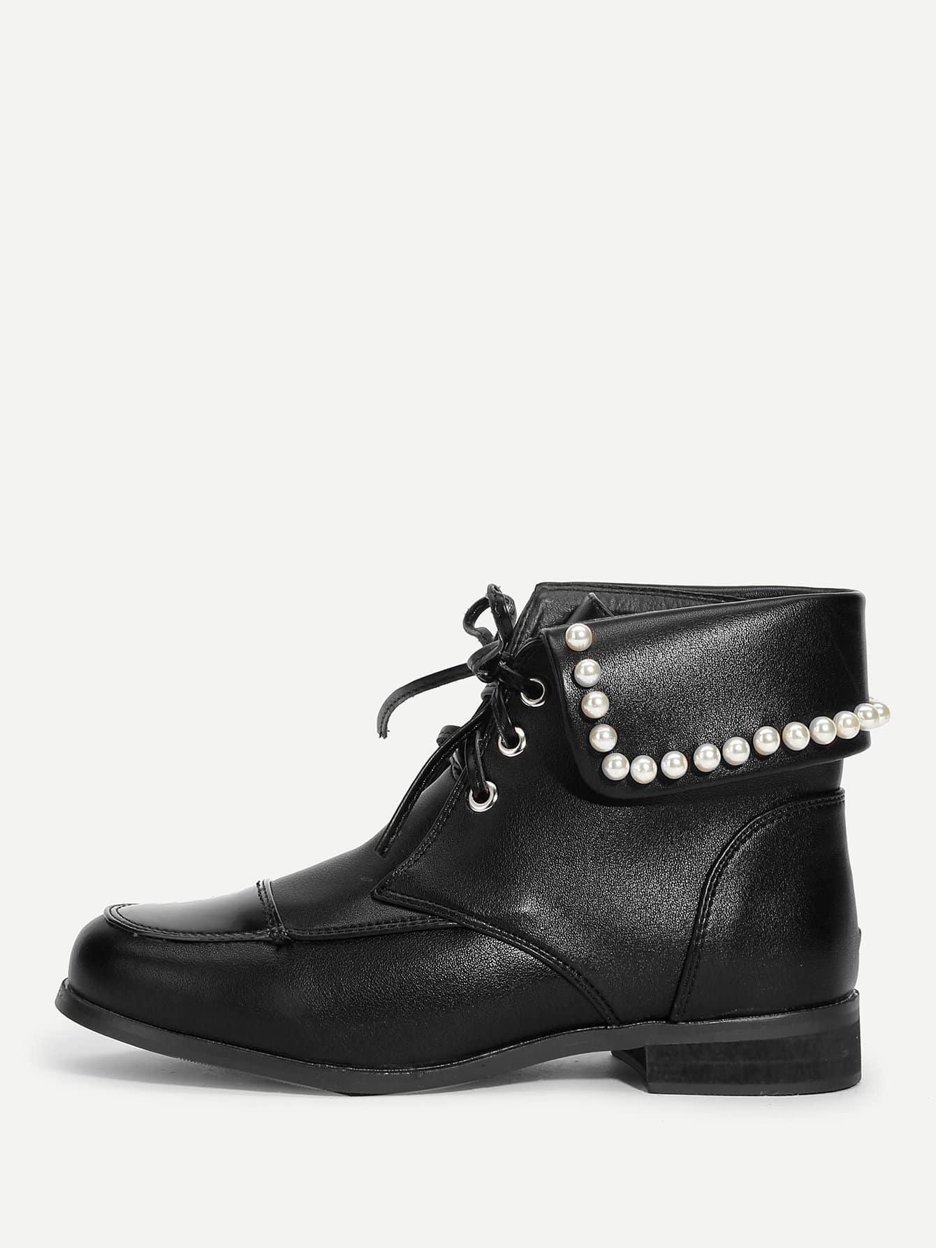 Купить Сапоги с шнурками и укаршением искусственных жемчугов, null, SheIn