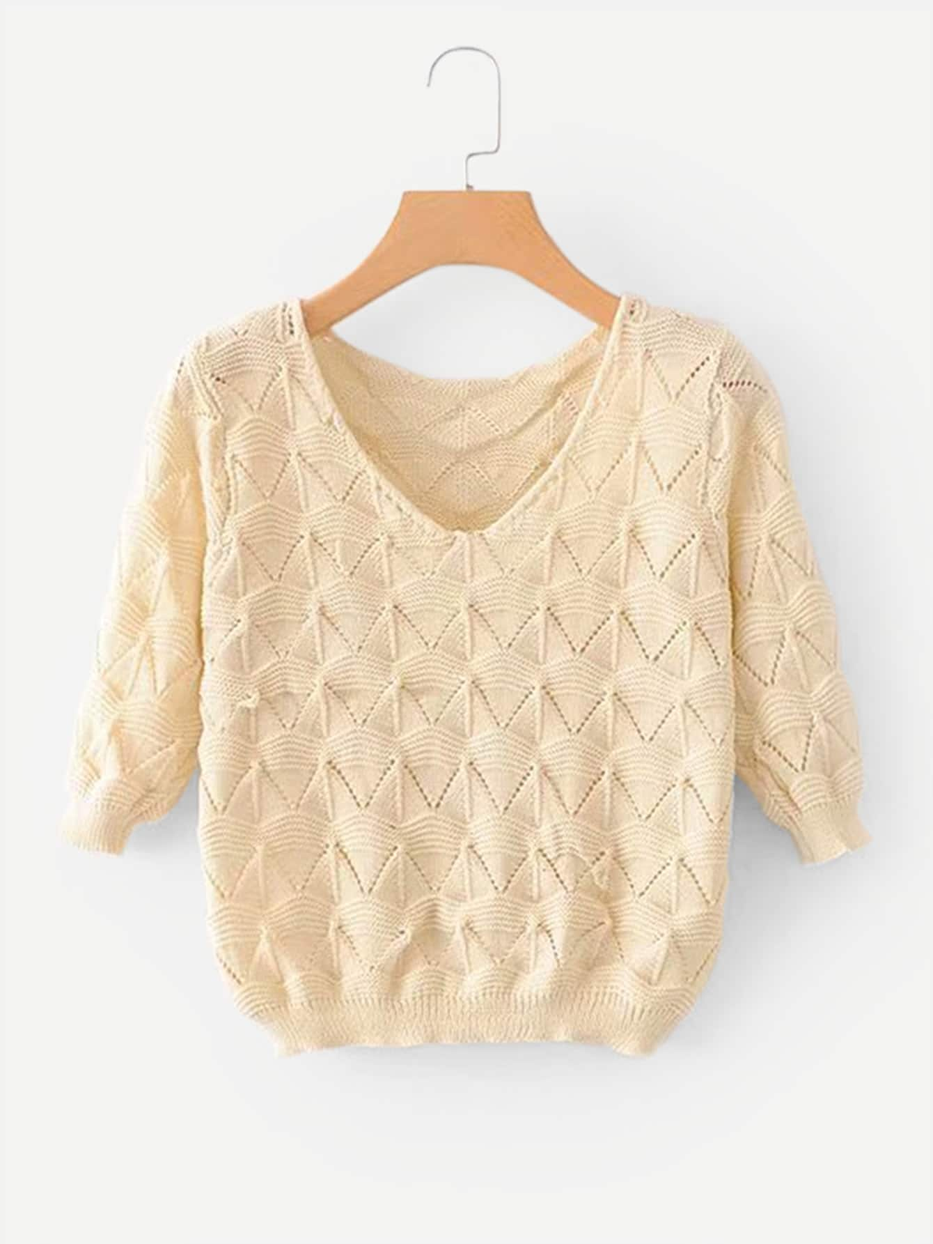 цена Solid Cropped Eyelet Sweater