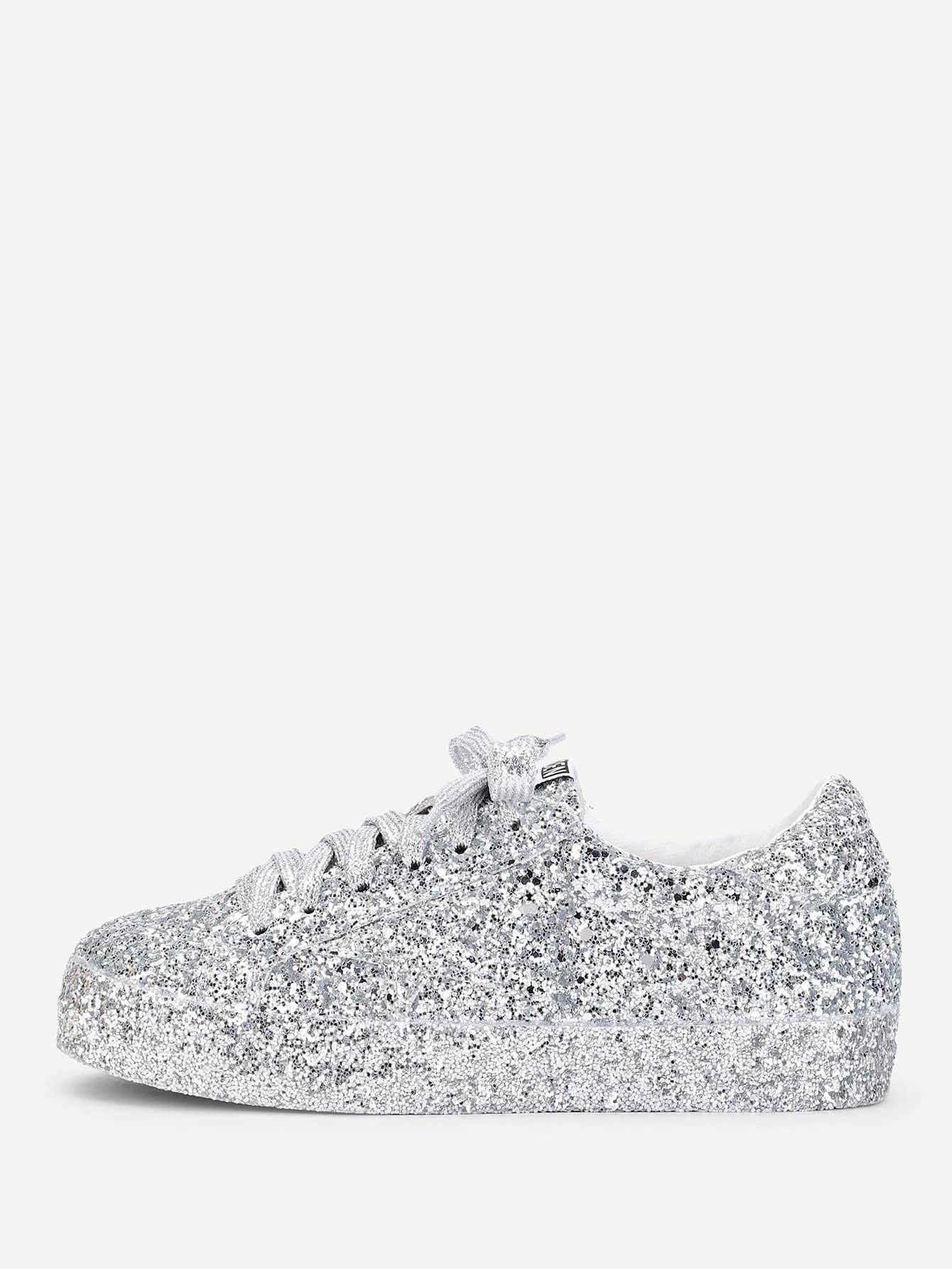 Купить Серебряные кожаные туфли с блёсткой, null, SheIn