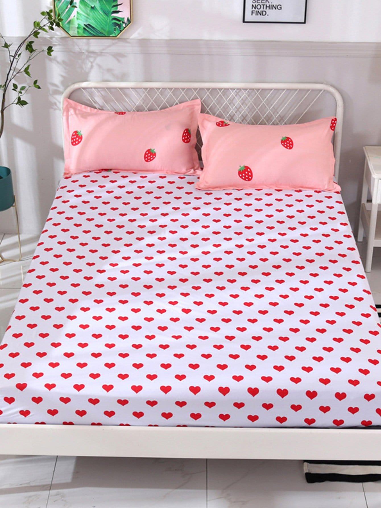Купить Удобное постельное бельё с рисунками сердцей 1 шт, null, SheIn