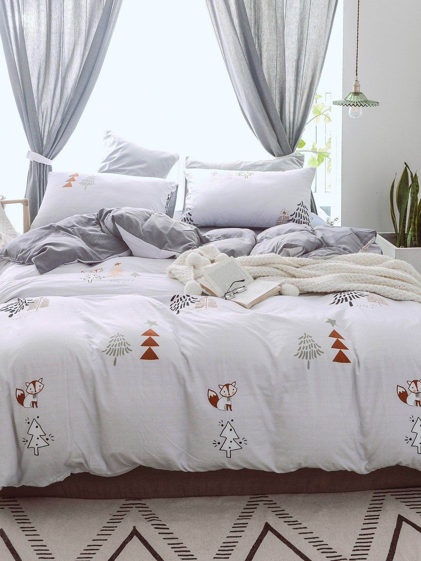 Купить Комплект постельного белья с рисунком лисицы, null, SheIn