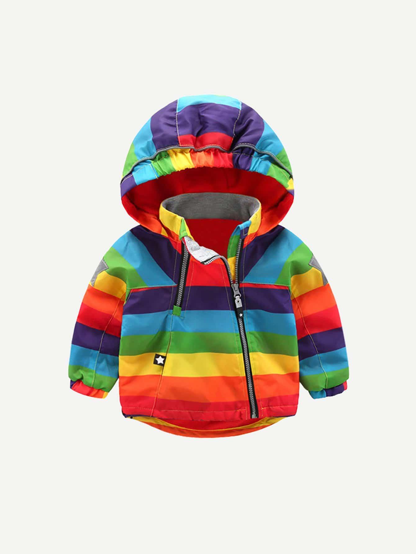 Jungen Jacke mit Regenbogen Streifen und Kapuze