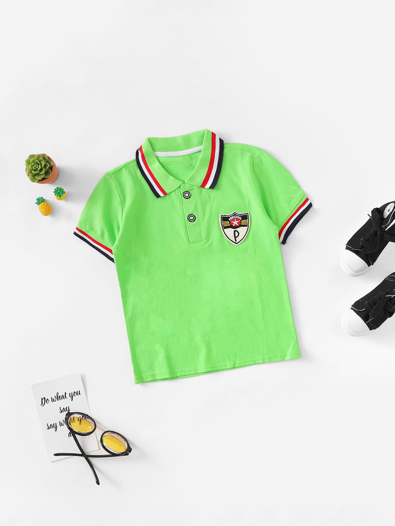 Boys Patched Detail Contrast Striped Trim Polo Shirt