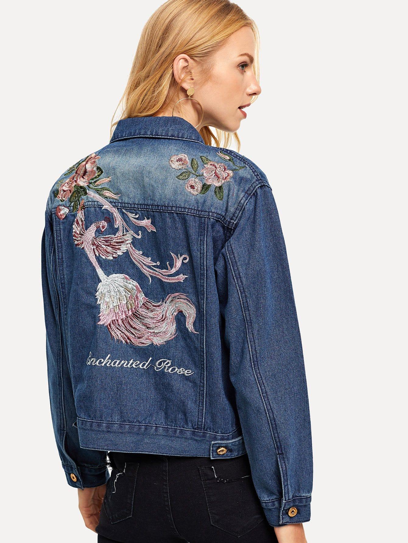 Embroidered Pocket Decoration Denim Jacket