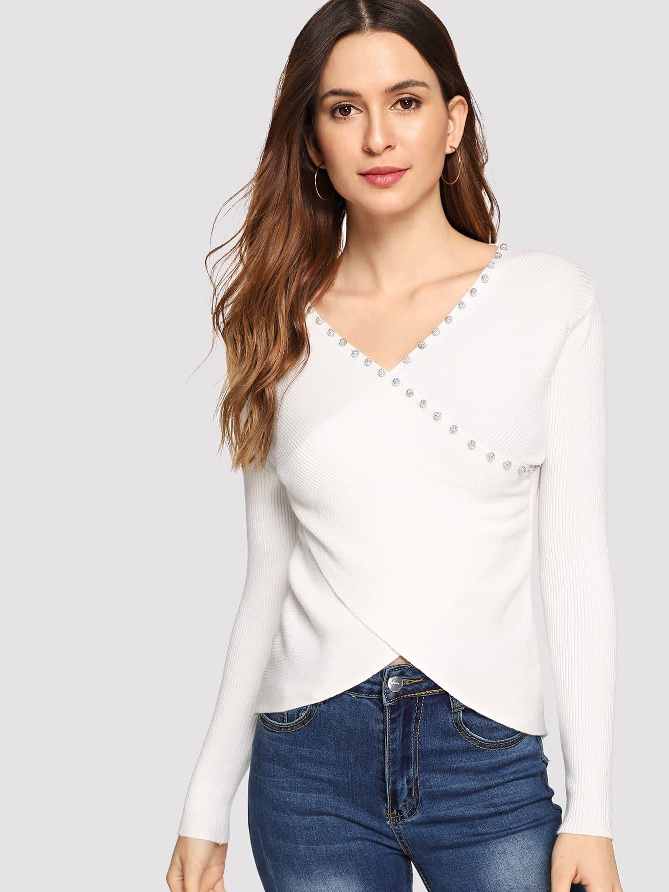 Reines Sweatshirt mit Perlen Dekor