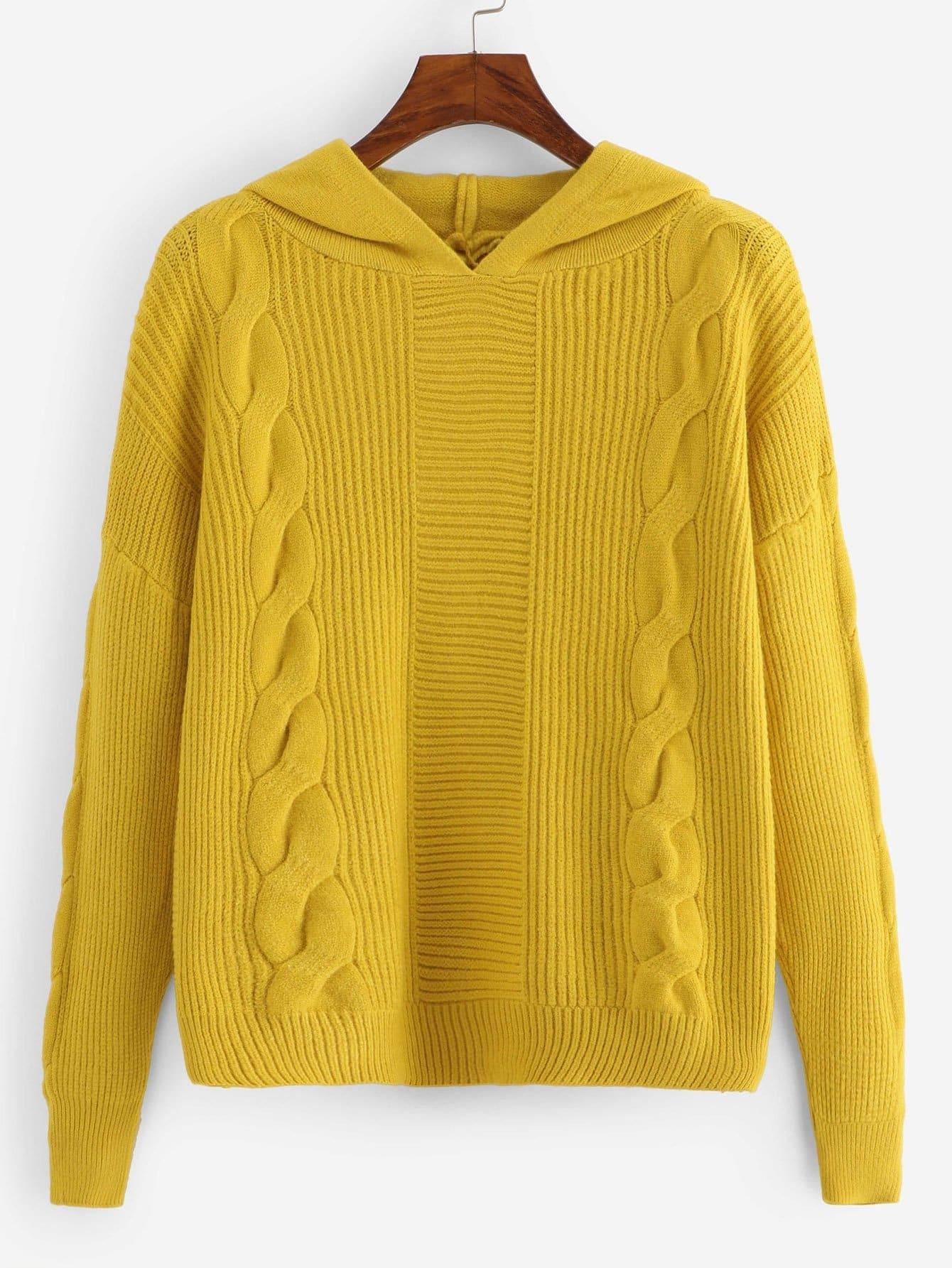 Reines Sweatshirt mit sehr tief angesetzter Schulterpartie und Kapuze
