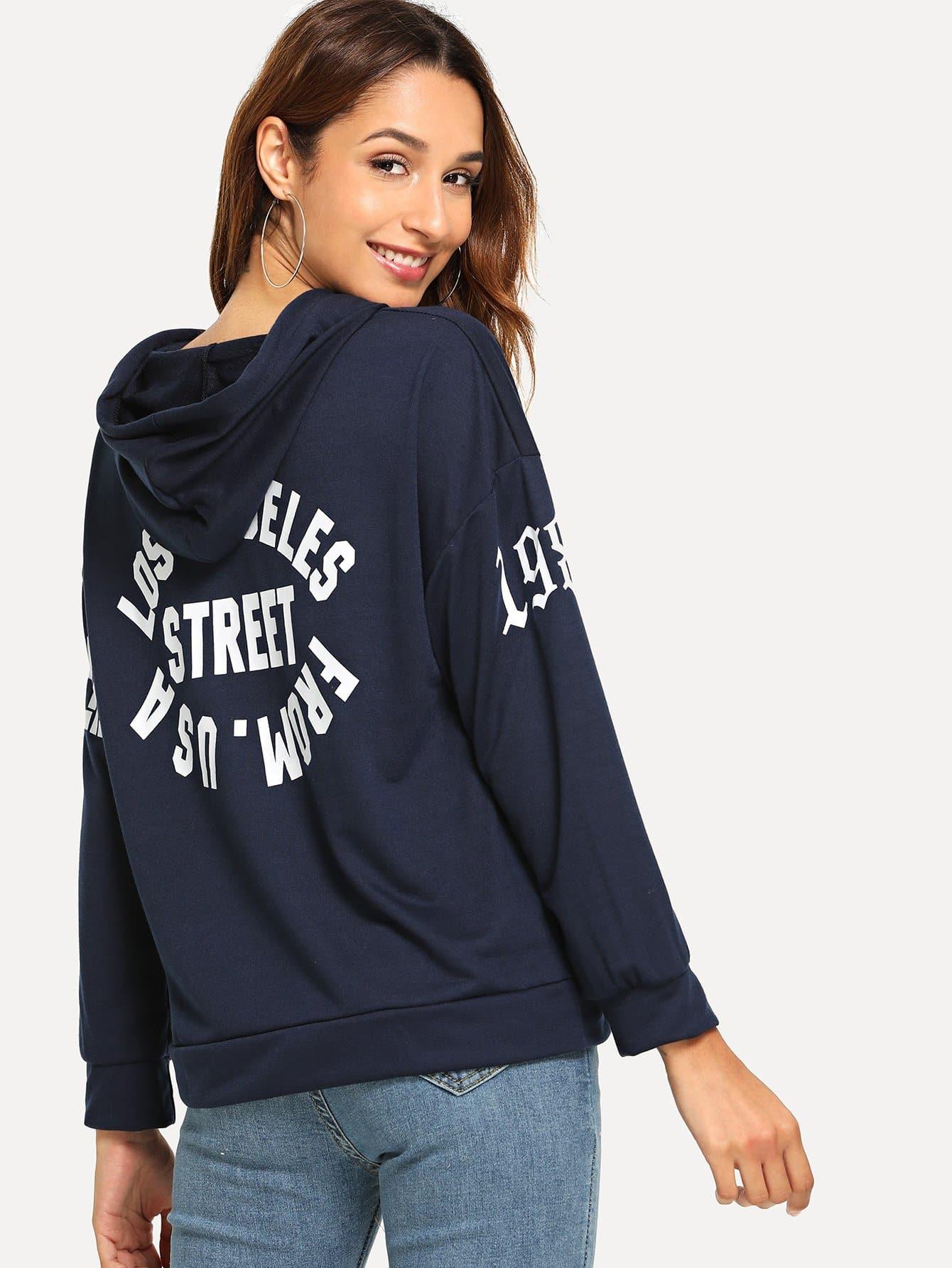 Letter Print Hooded Sweatshirt