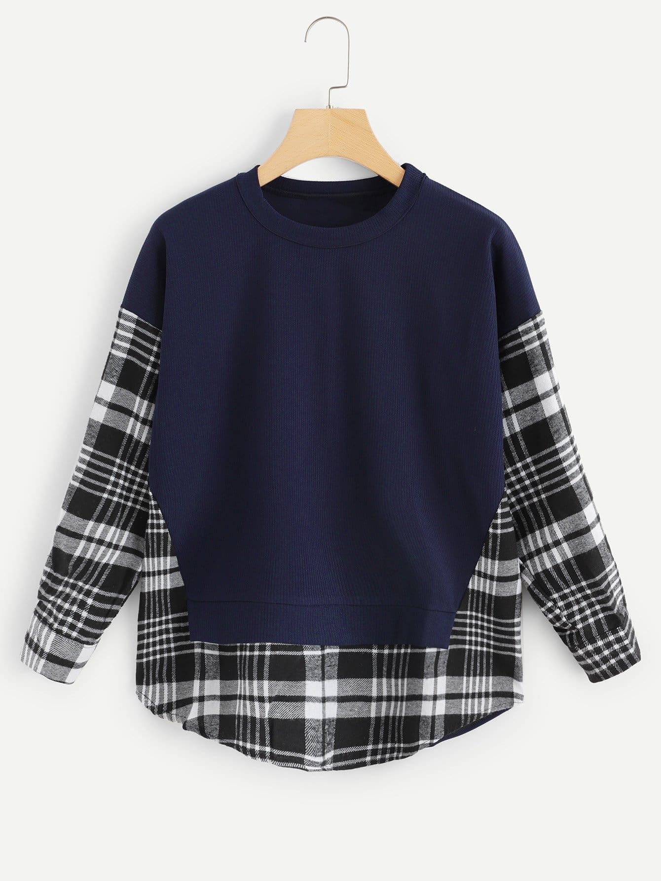 Cut And Sew Panel Plaid Sweatshirt