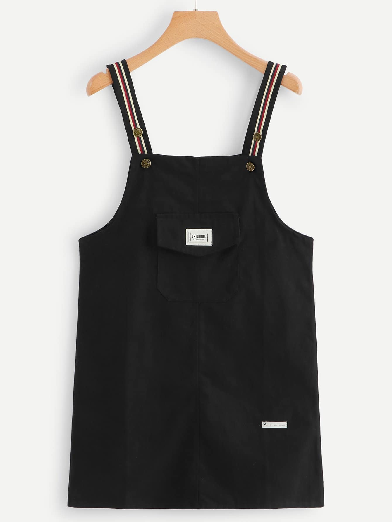 Striped Tape Pocket Front Pinafore Dress