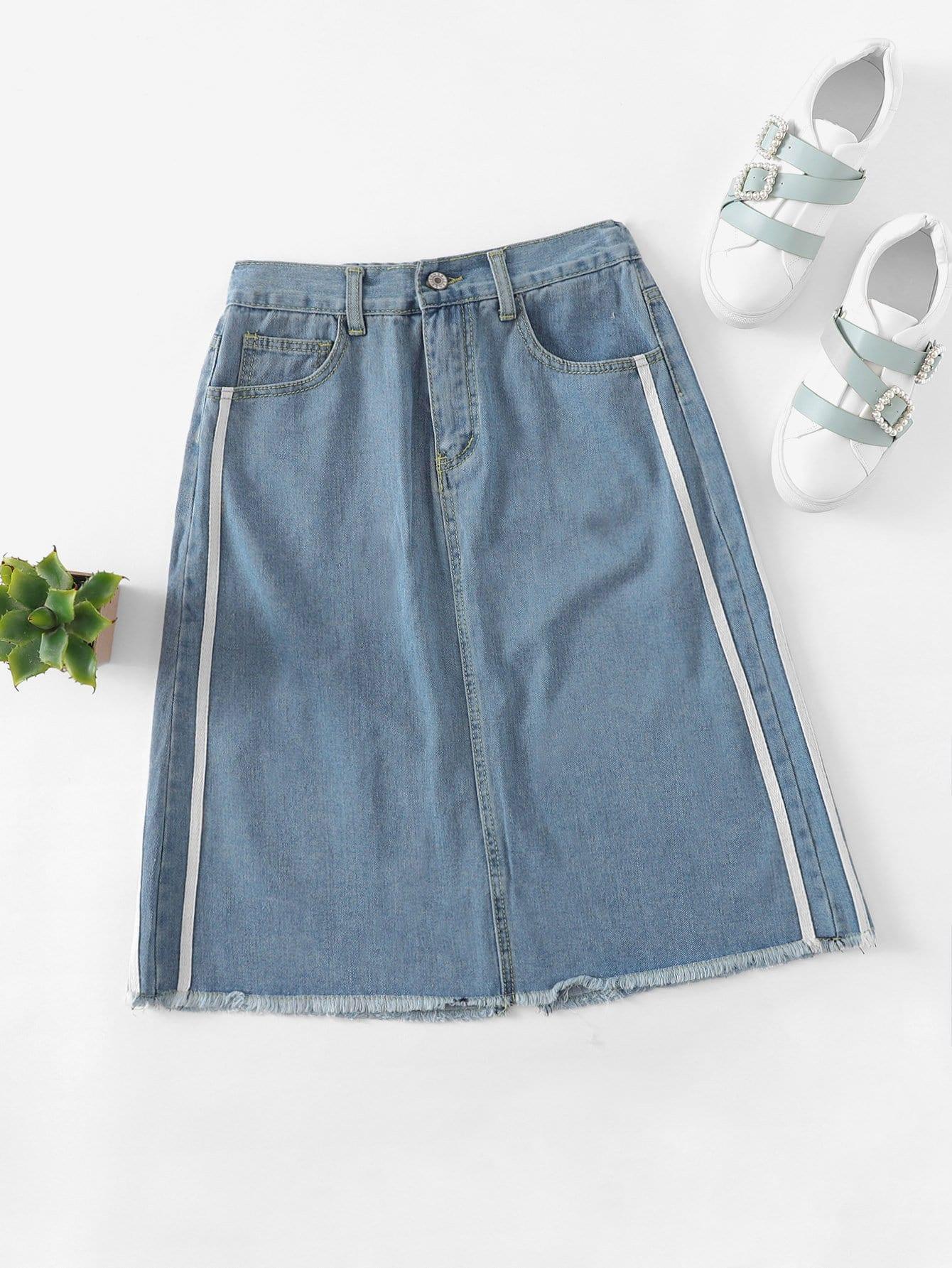Купить Стиль кэжуал Полосатый Необработанный низ Синий Джинсовые юбки, null, SheIn