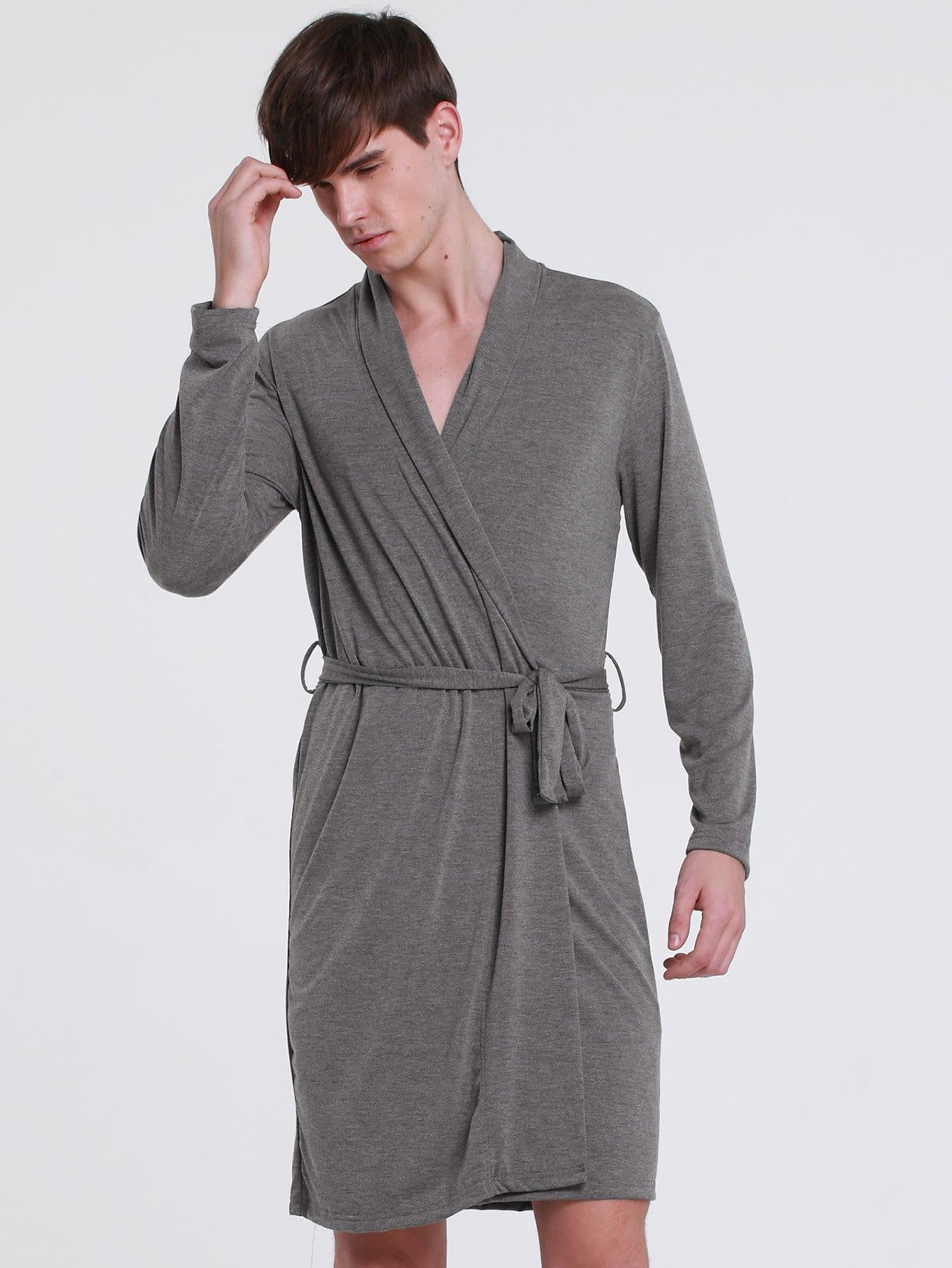 Men Solid Self Belted Wrap Robe