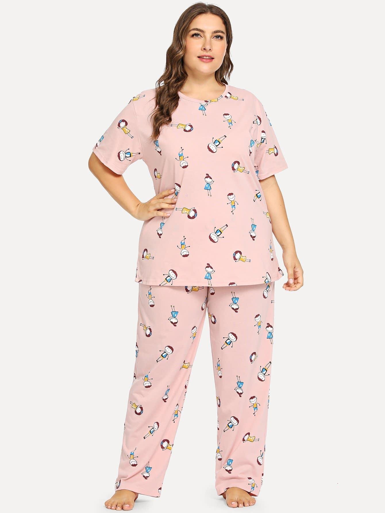 Plus Allover Cartoon Print Pajama Set