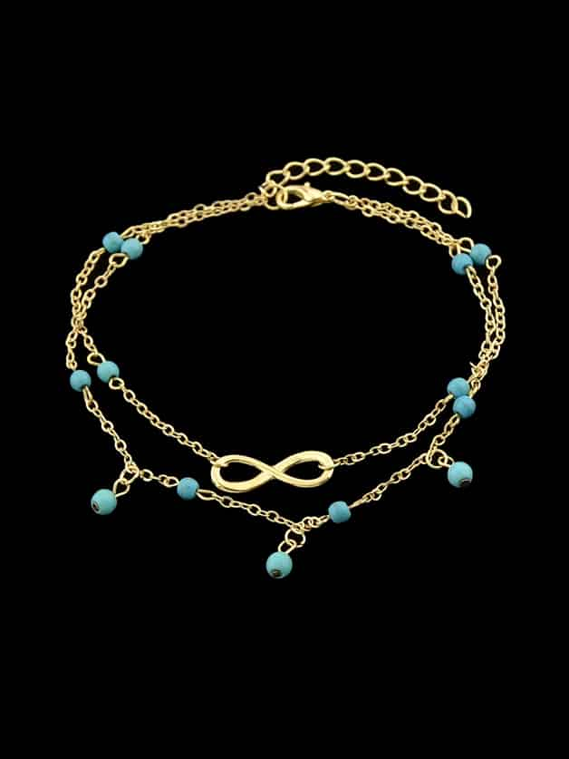 Gold 1 Pc Beach Style Double Layers Blue Beads Chain Anklet Bracelets