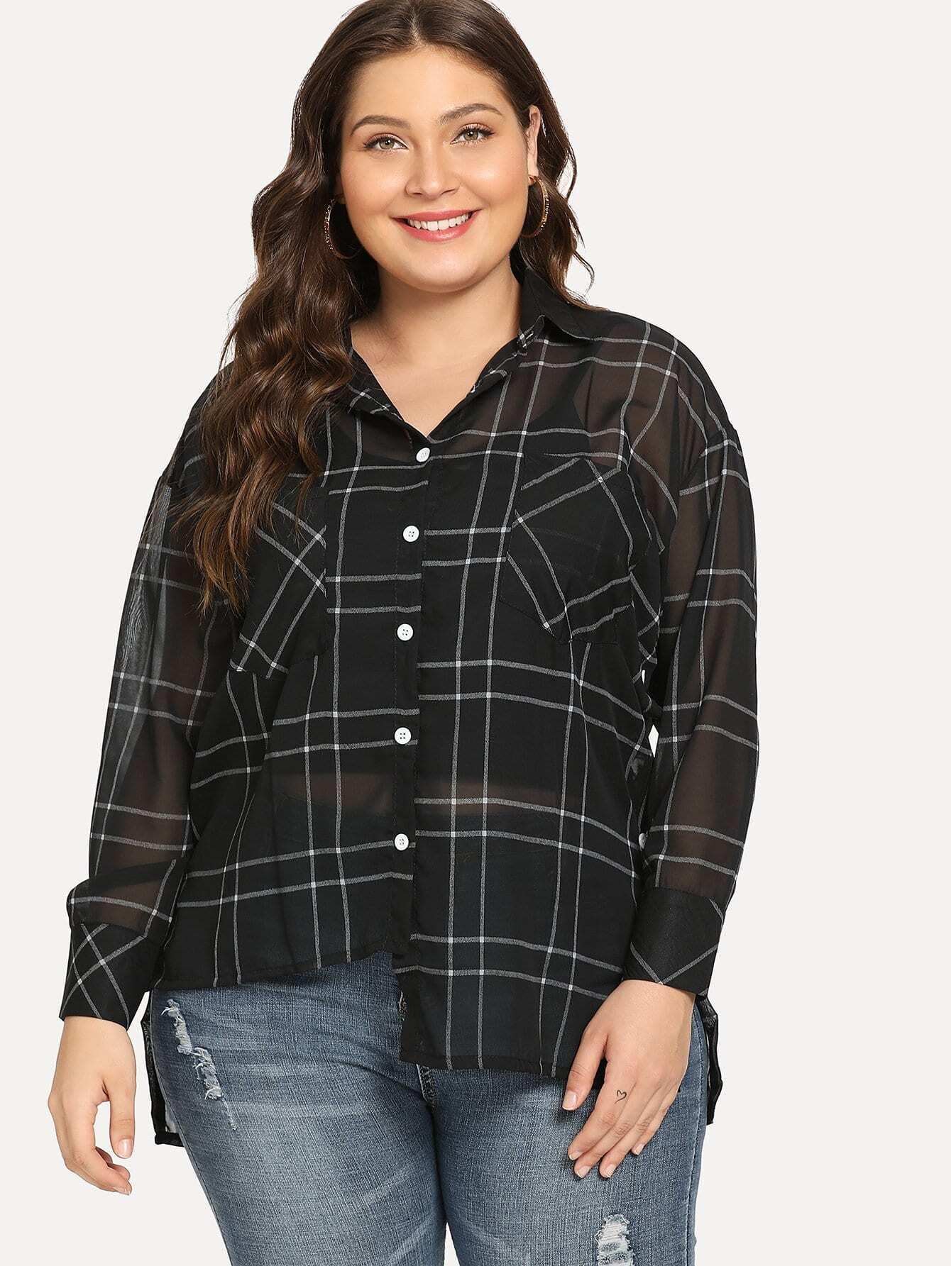 Übergroße Bluse mit asymmetrischem Saum und Plaid