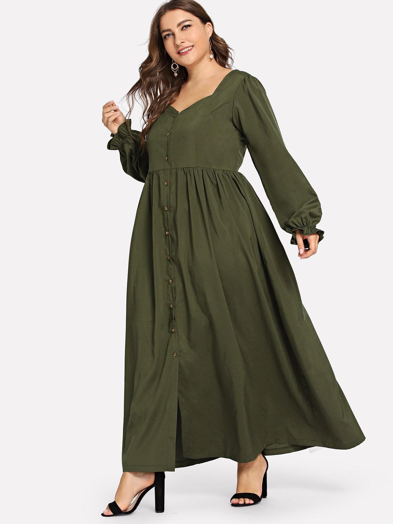Plus Button Decoration Plain Dress