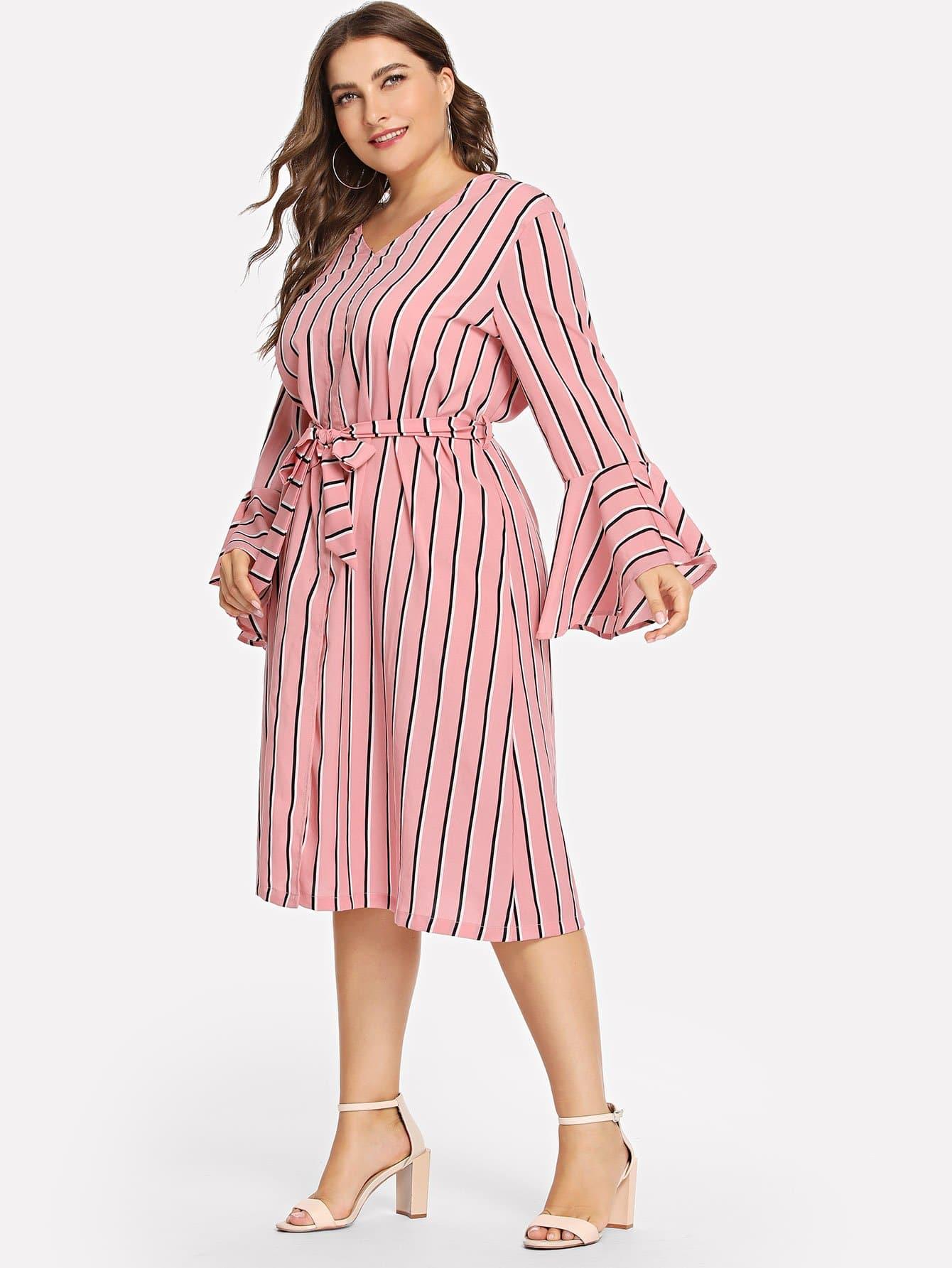 Купить Большое полосатое платье и рукав с розеткой и с поясом, Franziska, SheIn
