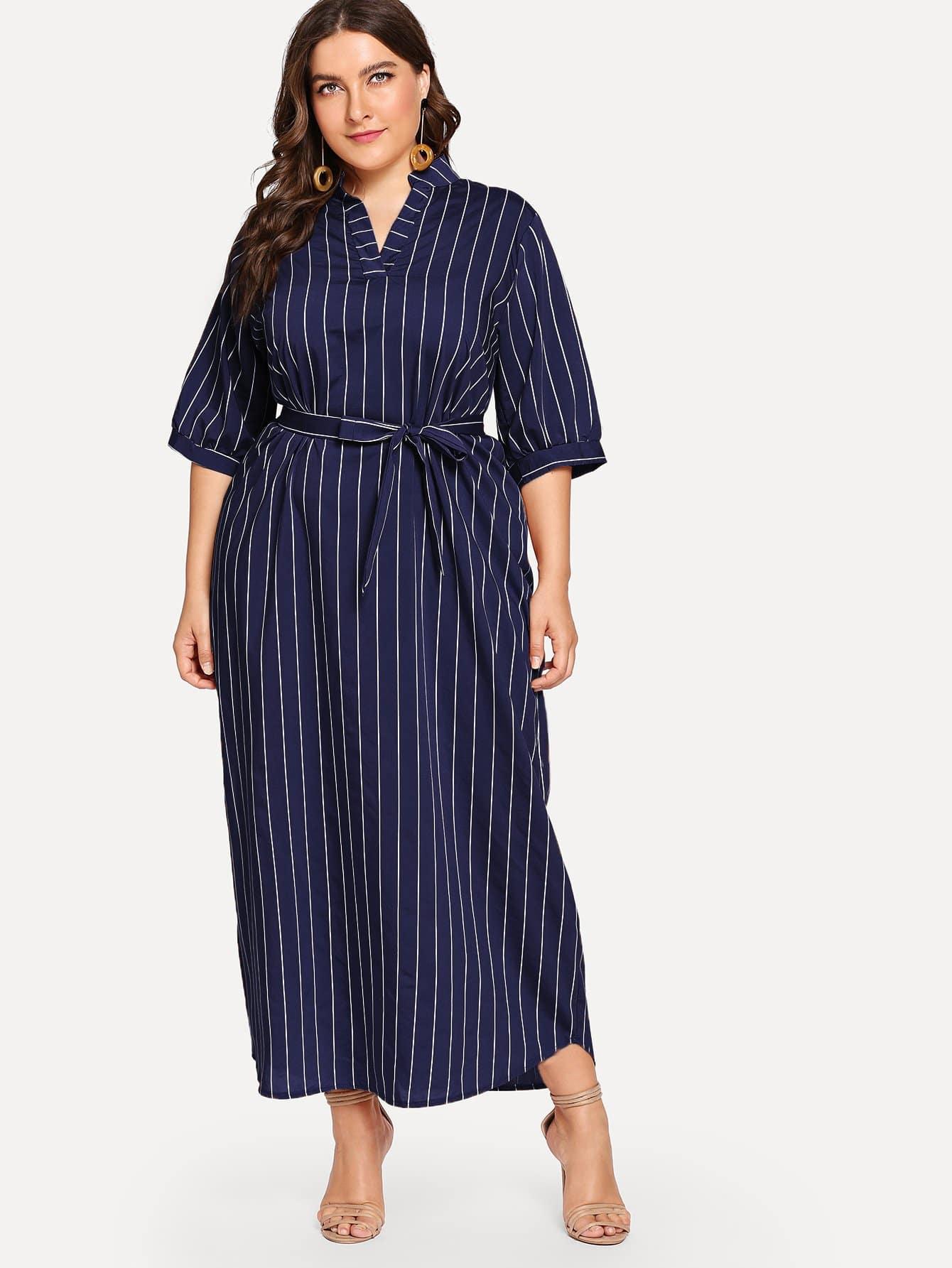 Купить Большое полосатое платье с поясом и вырезом, Franziska, SheIn