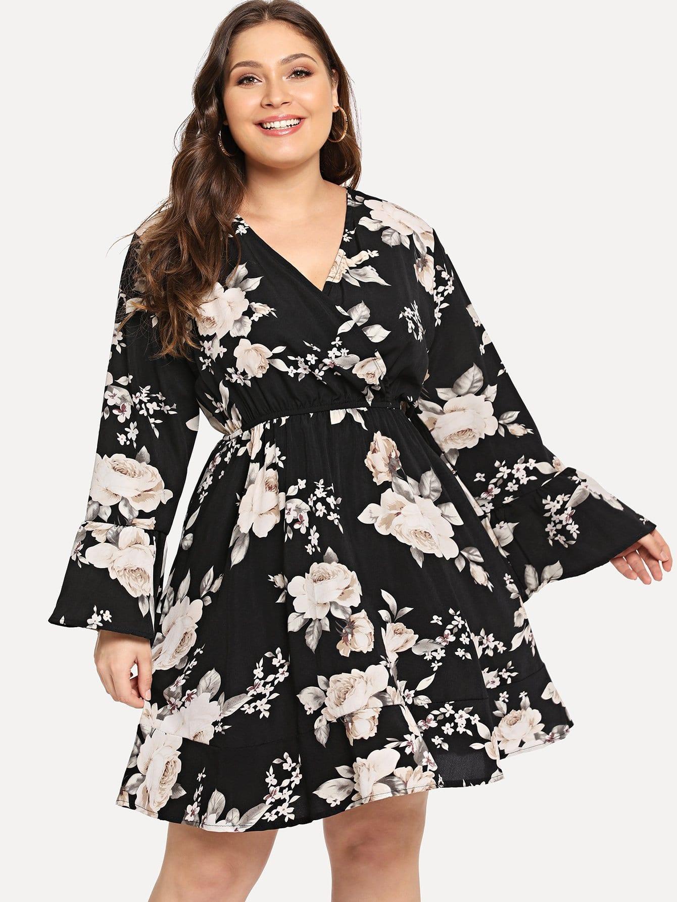 Купить Большое общое ситцевое платье с V-образным вырезом, Carol, SheIn