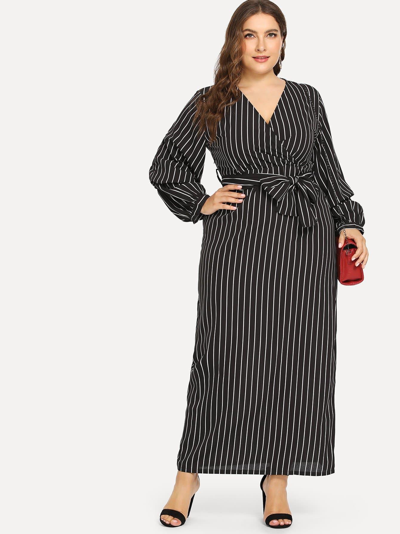 Plus Surplice Belted Striped Dress