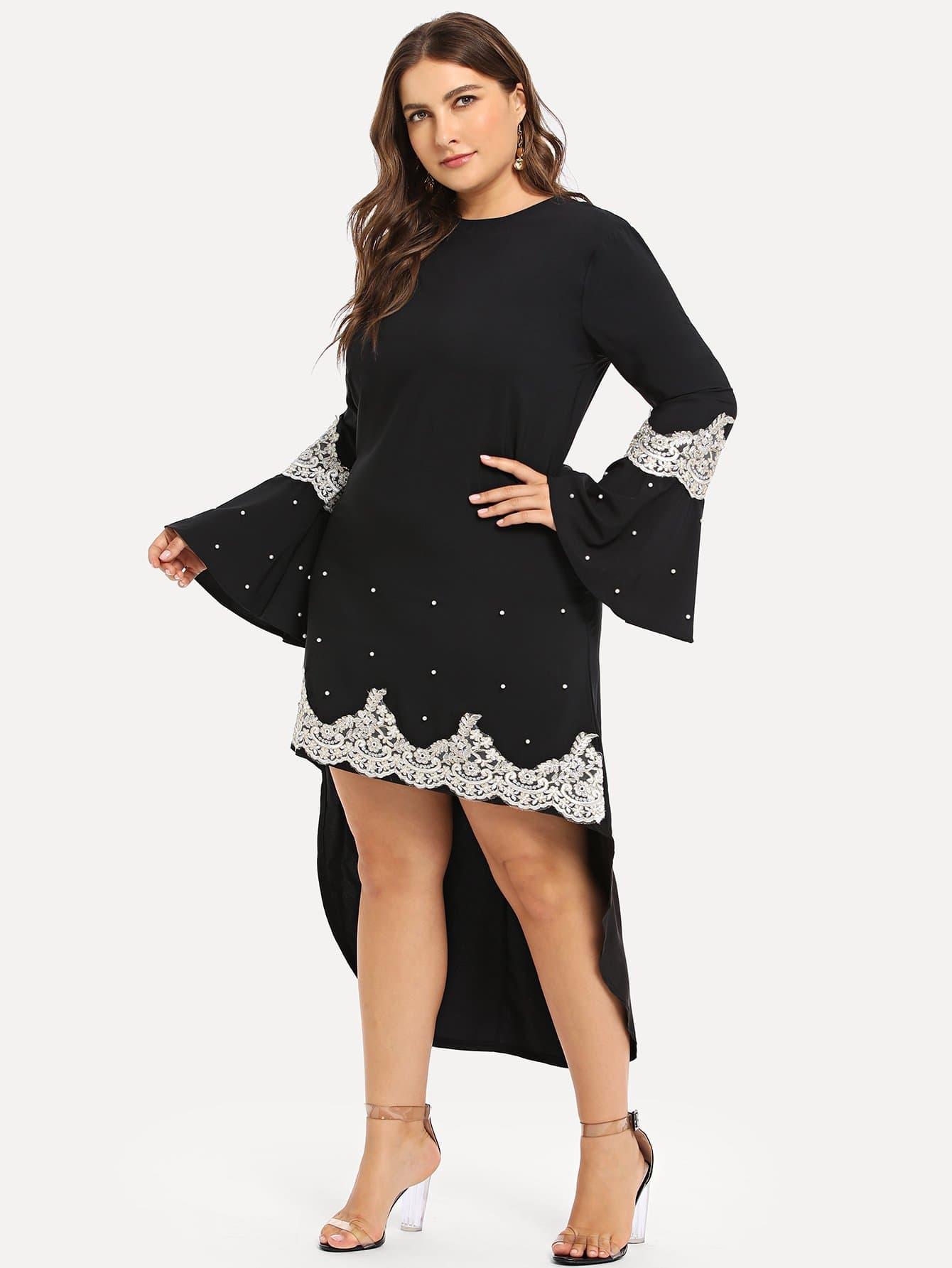 Купить Большое асимметричное платье со симметрическими кружевами, Franziska, SheIn