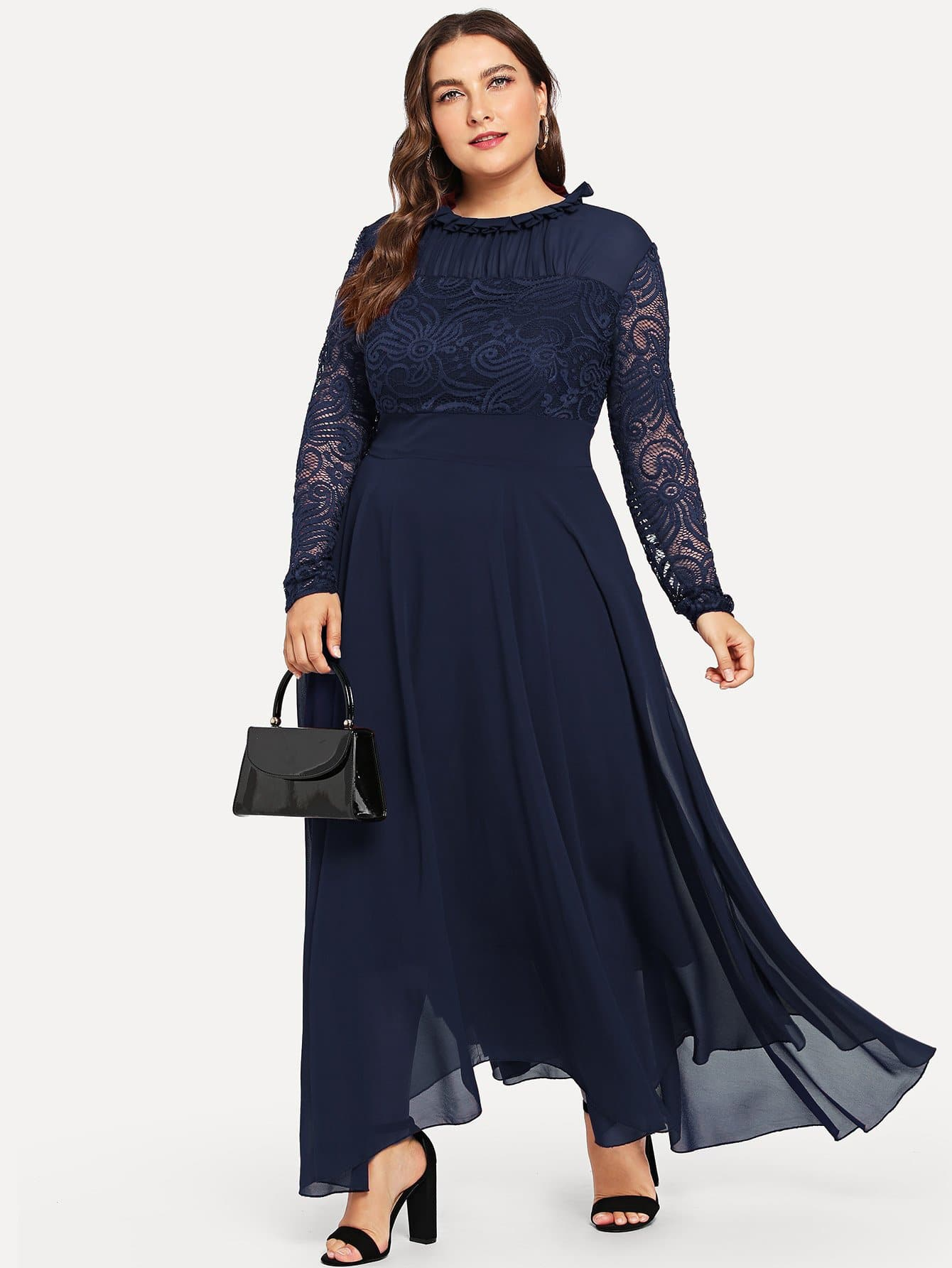 Купить Большое сетчатое кружевное платье с кружевными оборками, Franziska, SheIn