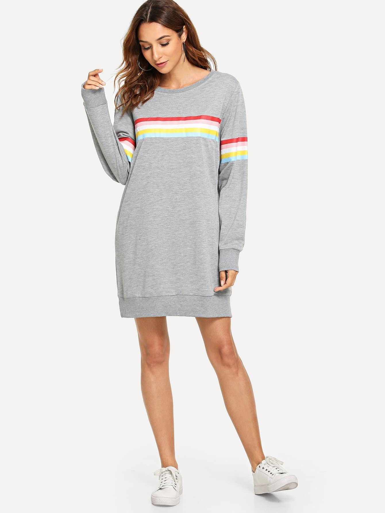 Купить Красочный полосатый свитшот платье, Gabi B, SheIn