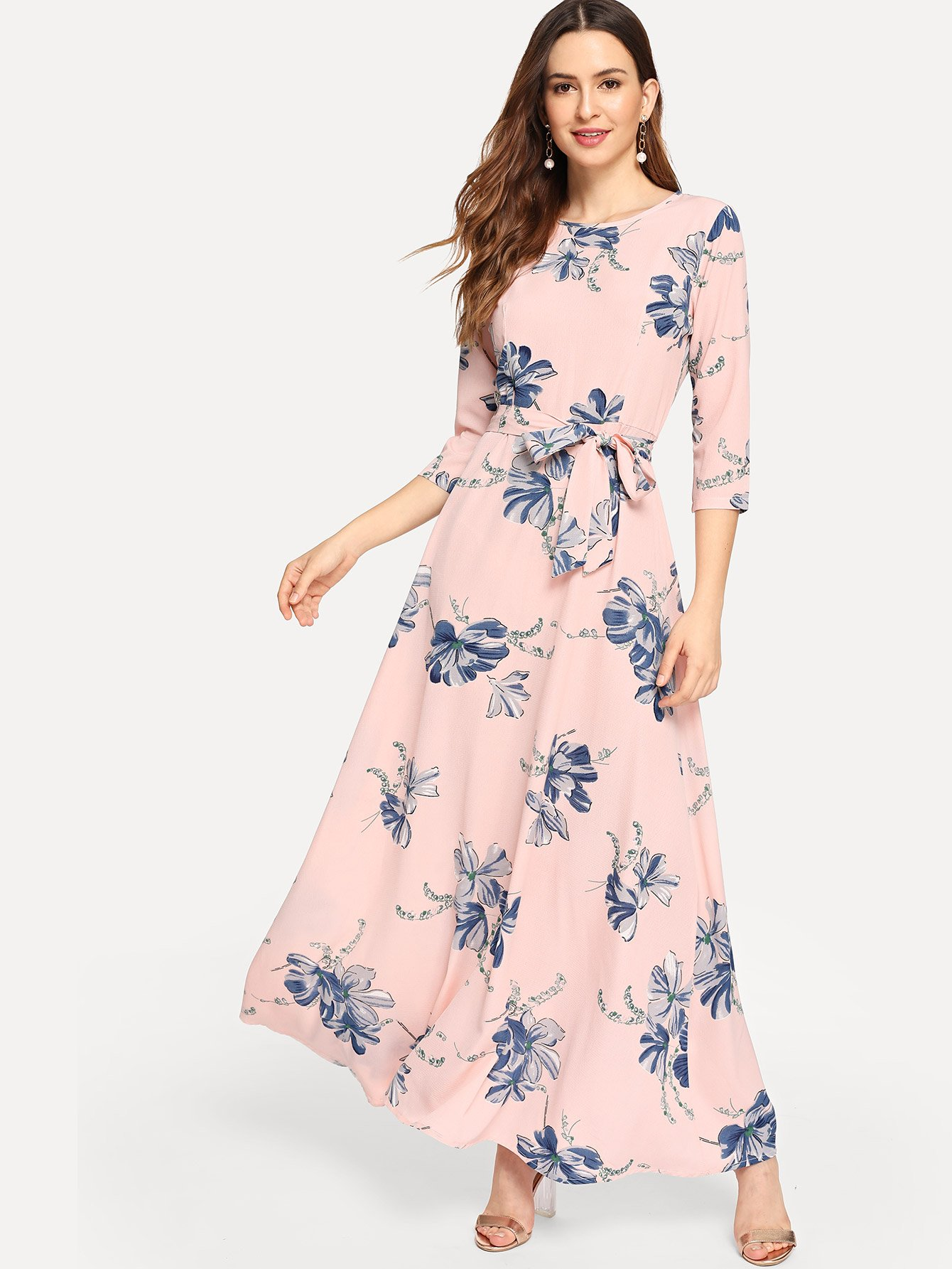 Купить Платье с цветочным принтом с поясом, Jana, SheIn