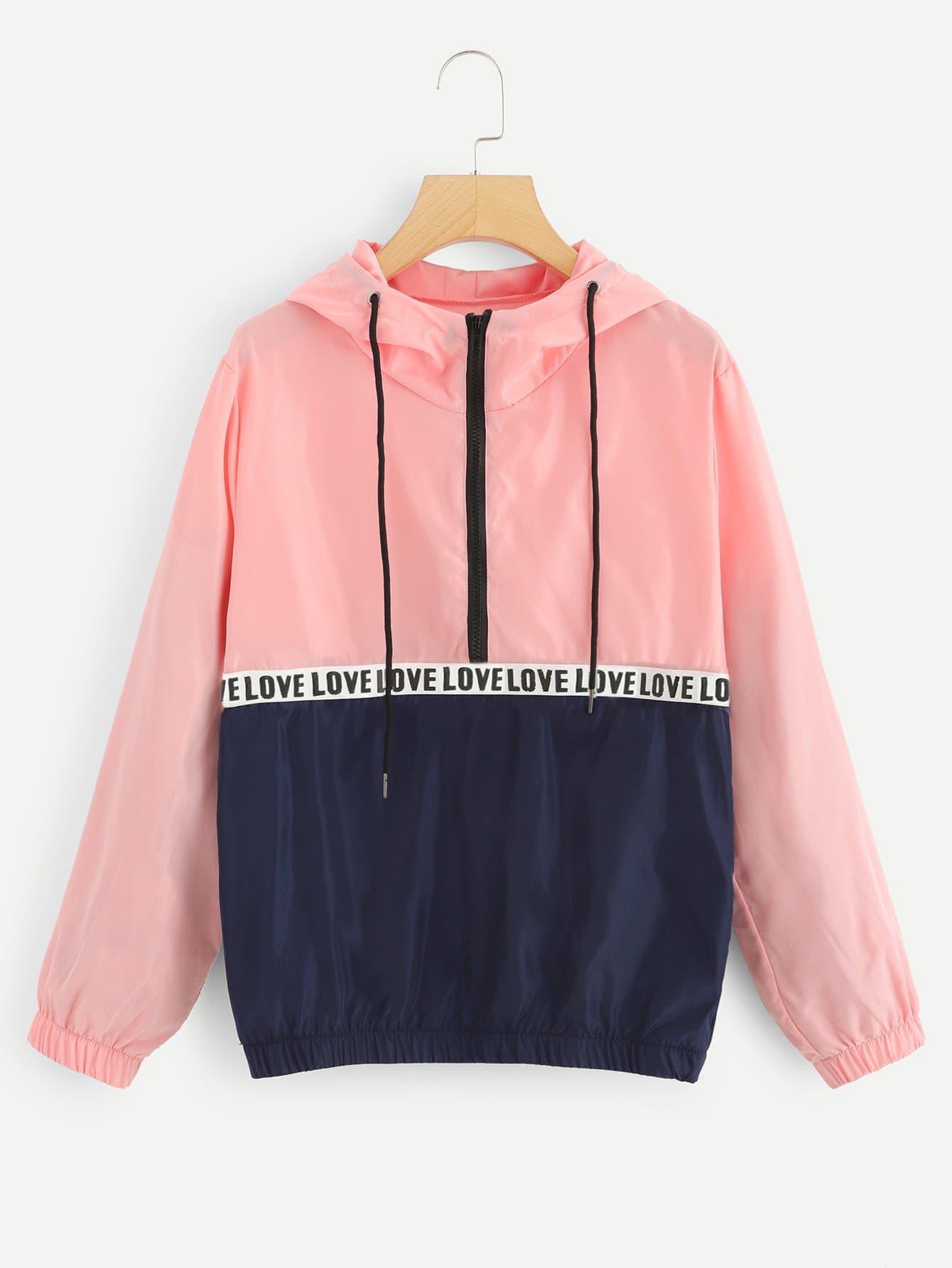 Übergroße Jacke mit Buchstaben Muster und Kapuze