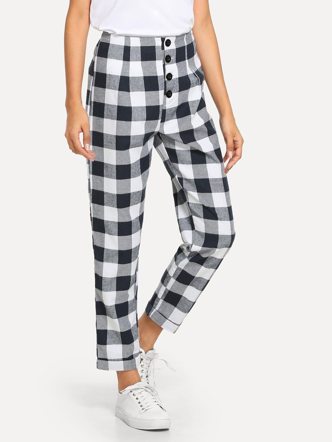 Купить Однобортные брюки в клетку, Gabi B, SheIn