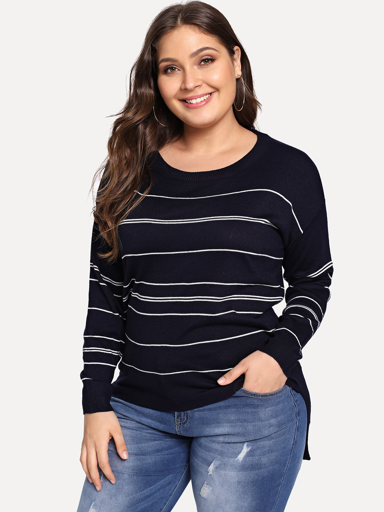Plus Split Side Striped Jumper