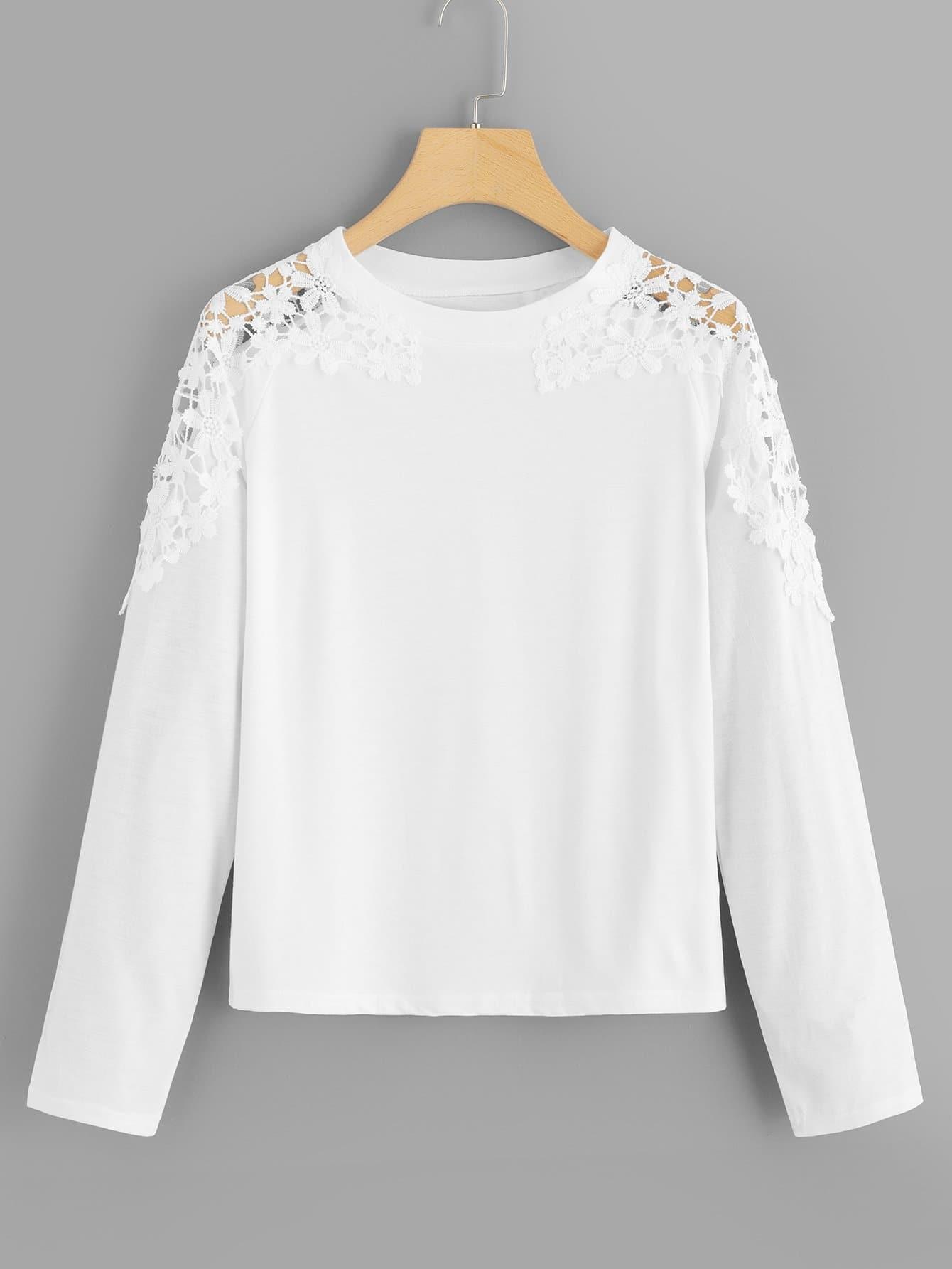 Купить Простая футболка со симметрическими кружевами, null, SheIn