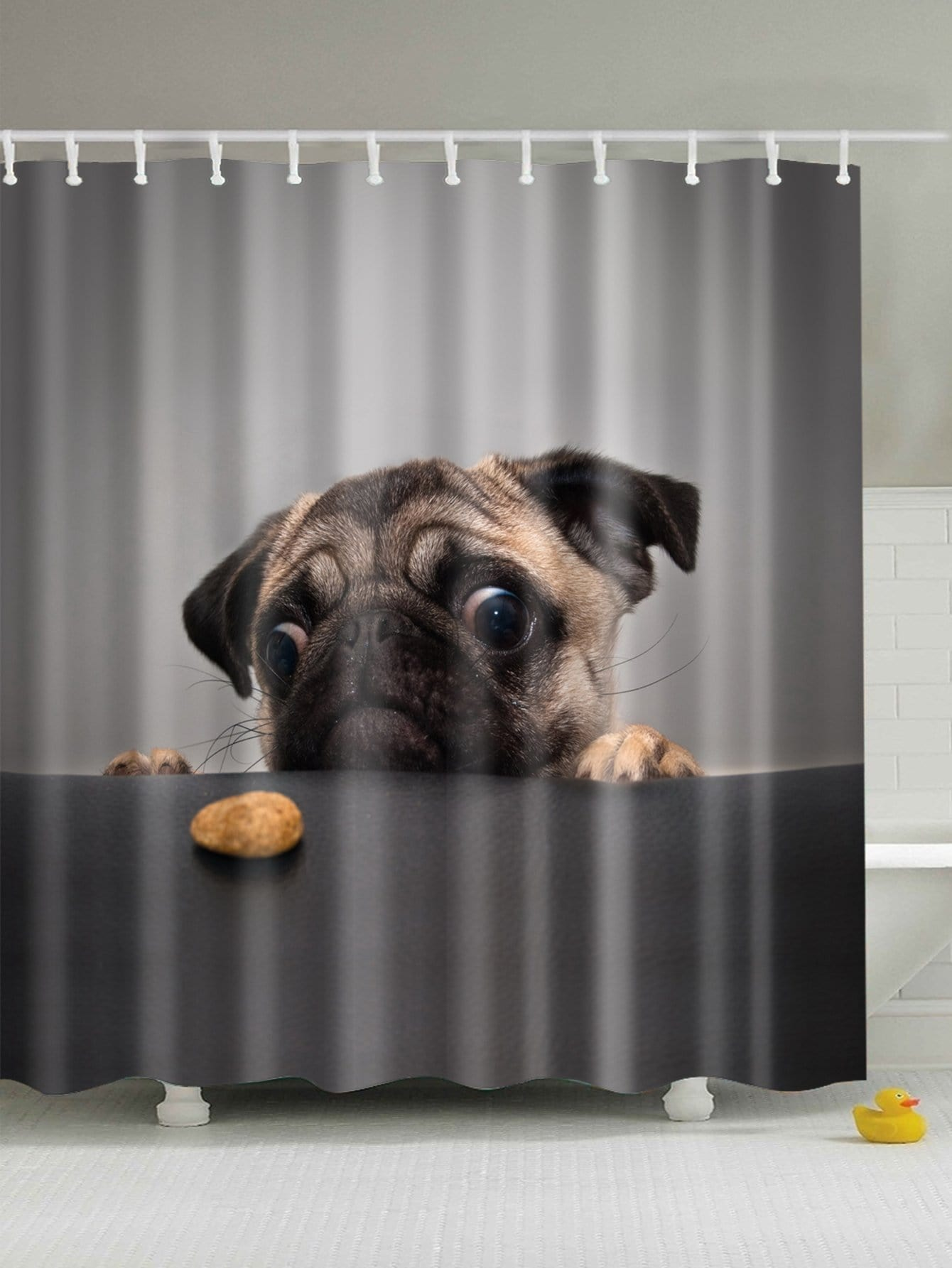 Dog Print Shower Curtain With 12 Hooks
