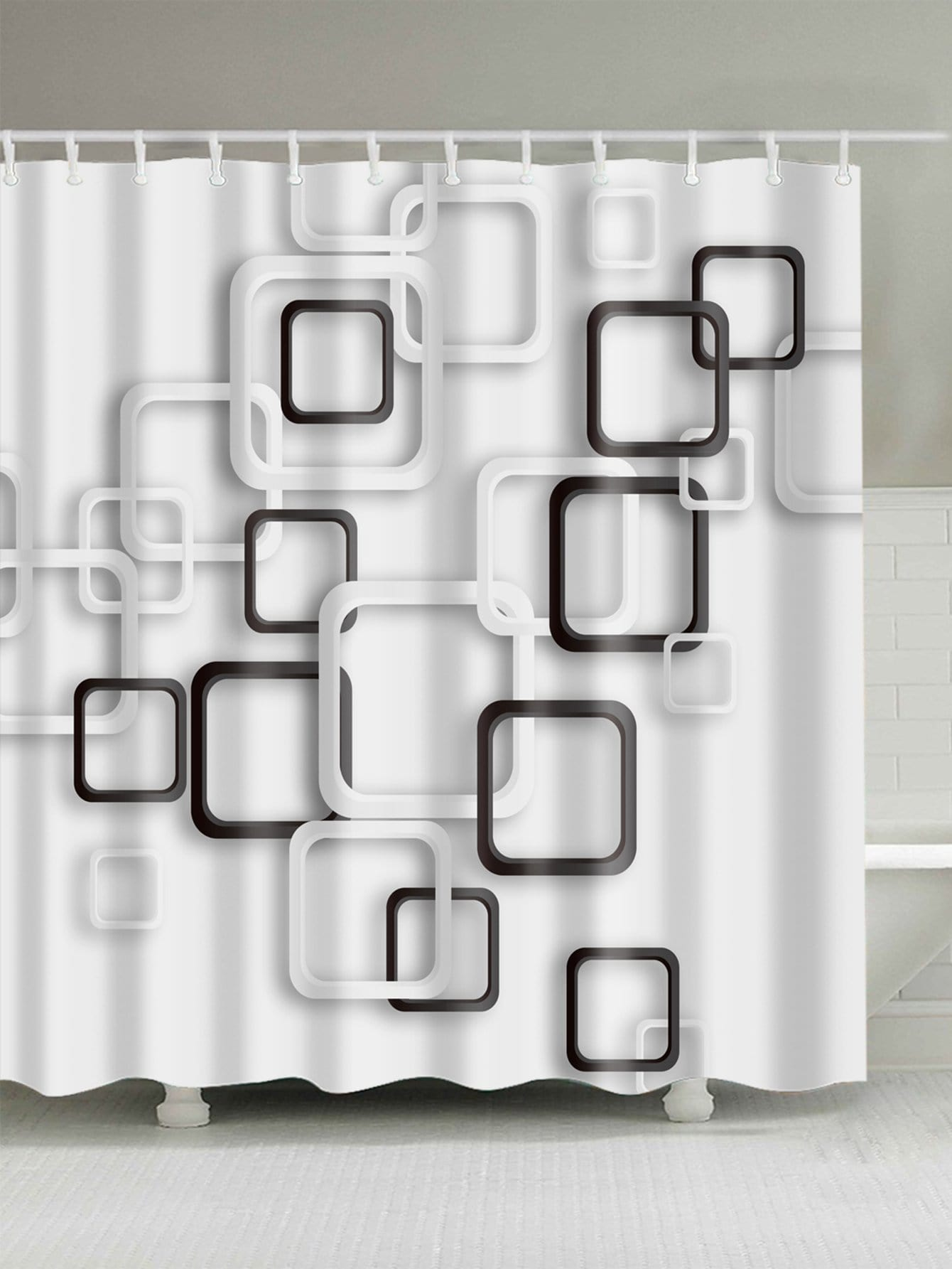 Geometric Pattern Shower Curtain With 12 Hooks
