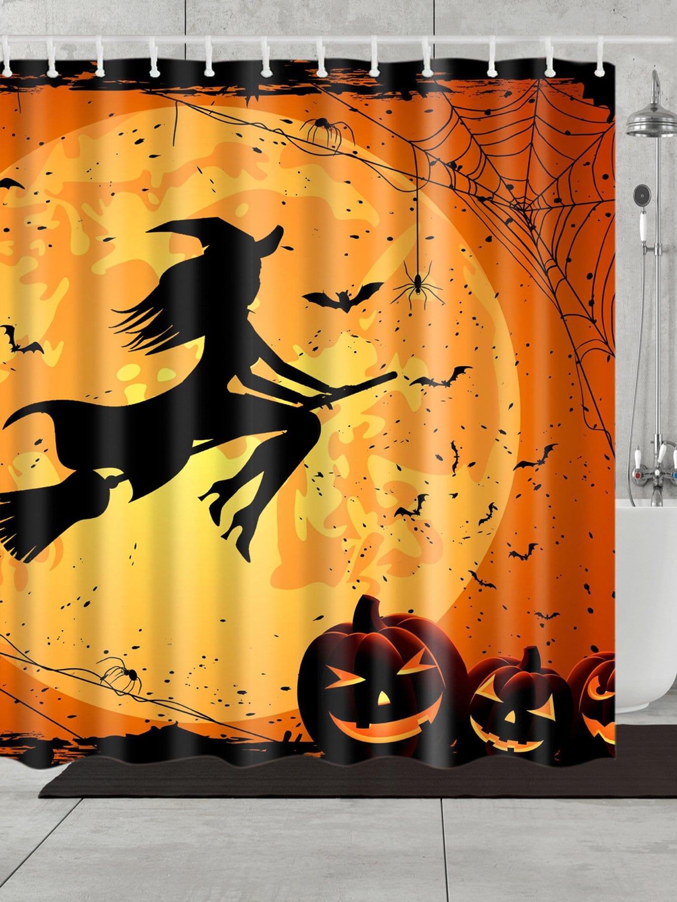 Pumpkin Lantern Shower Curtain With 12 Hooks
