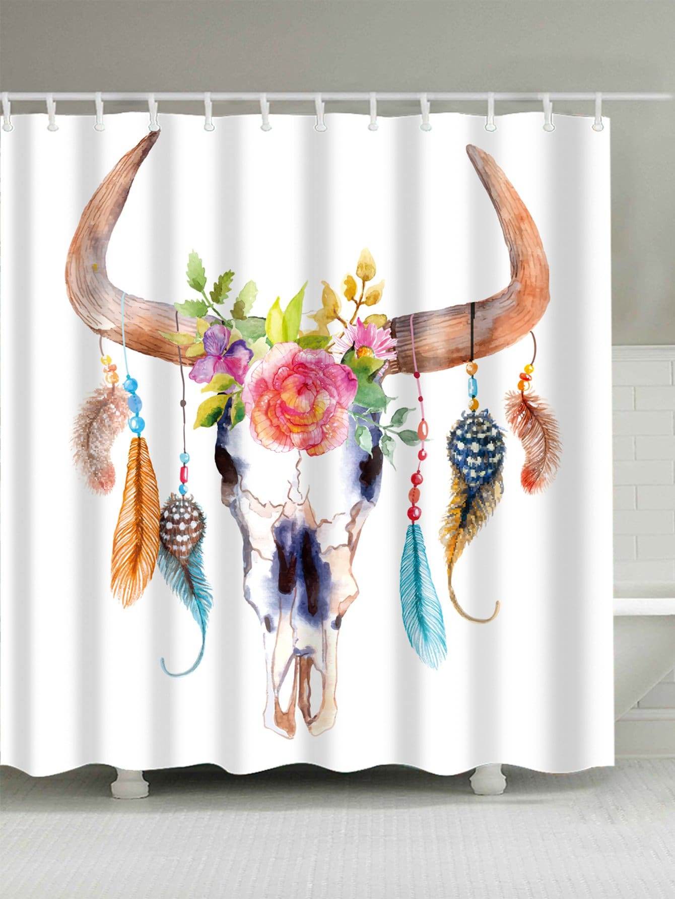 Horn Print Shower Curtain With 12 Hooks