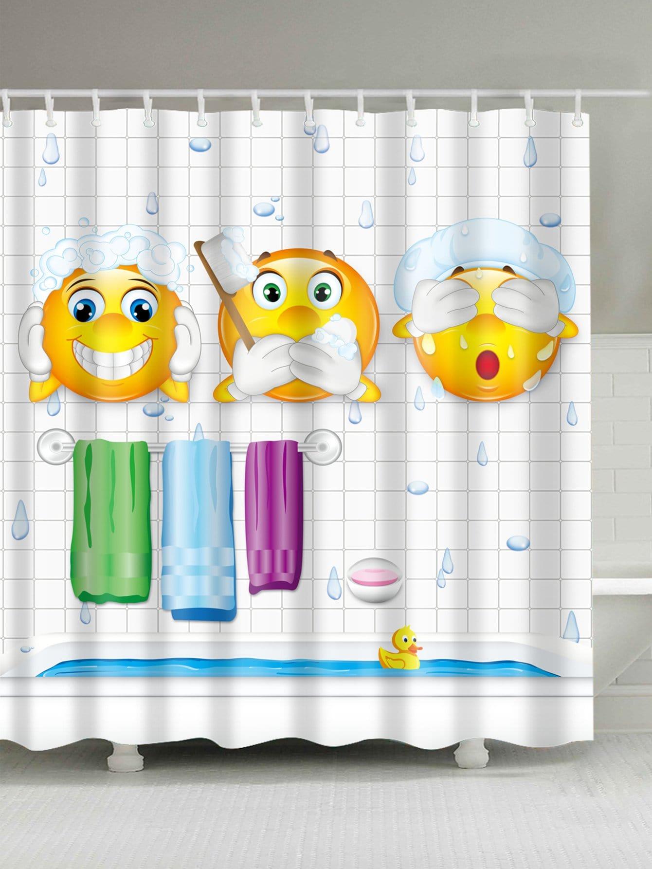 Emoji Print Shower Curtain With 12 Hooks