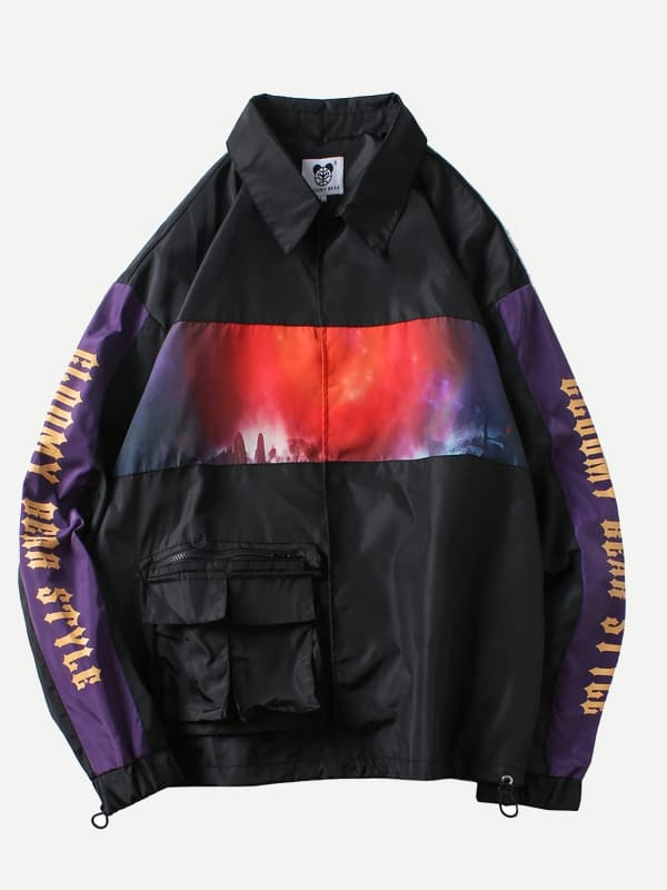 Men Cut And Sew Panel Letter Print Jacket