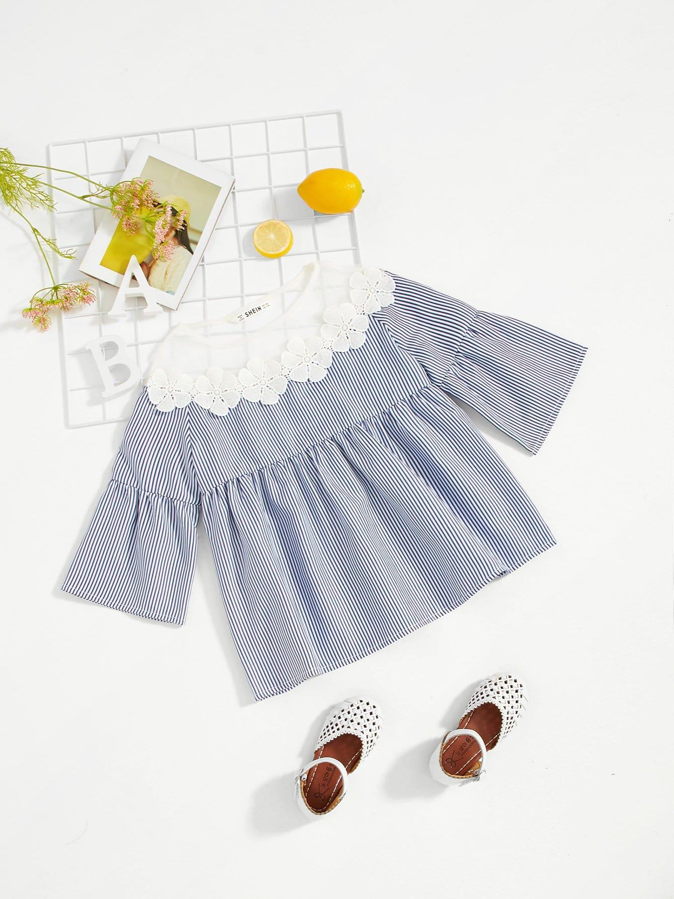 Купить Сетчатая тонкая полосатая блузка для девочки, null, SheIn