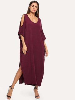 Open Shoulder Solid Poncho Dress