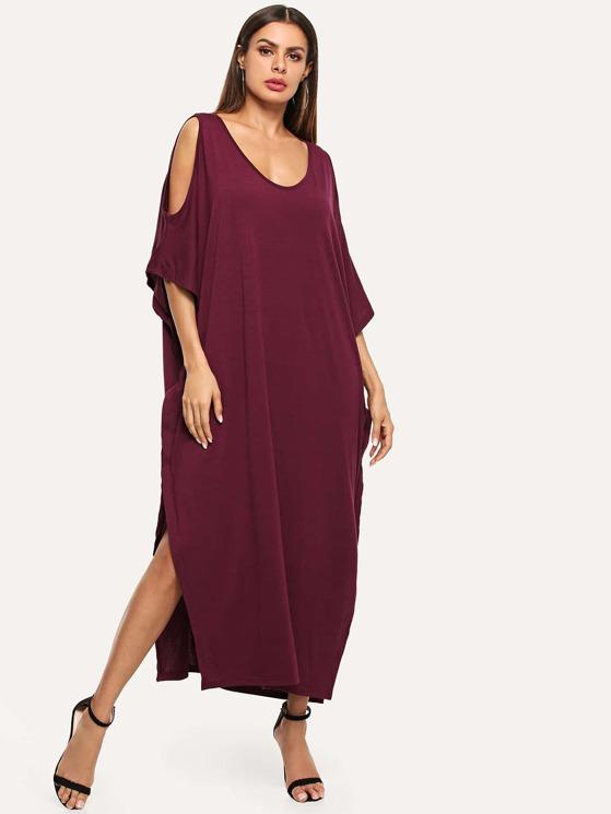 865962b6acf5 Open Shoulder Solid Poncho Dress   MakeMeChic.COM