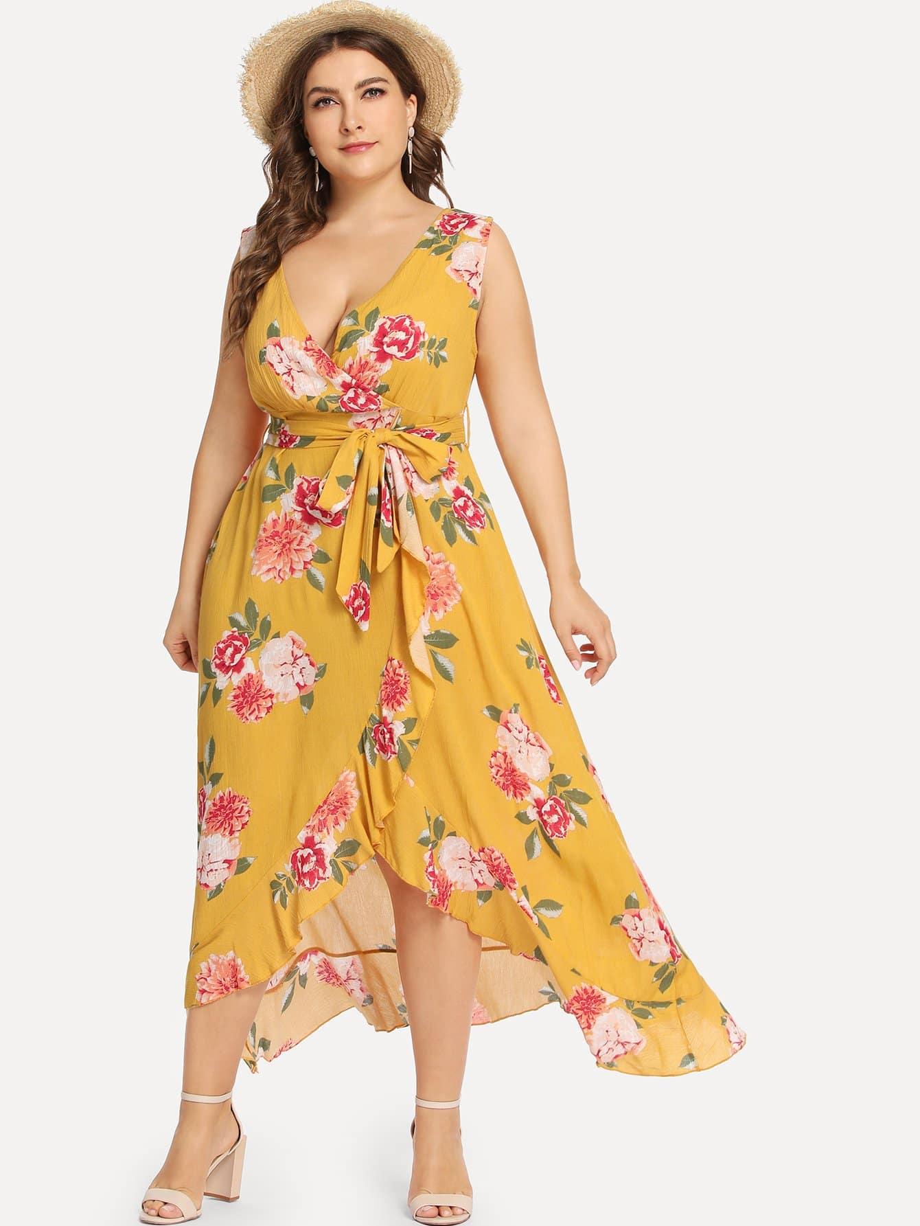 Цветочная печать Flounce Trim Dress