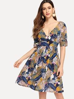 V-Neck Tropical Print Dress