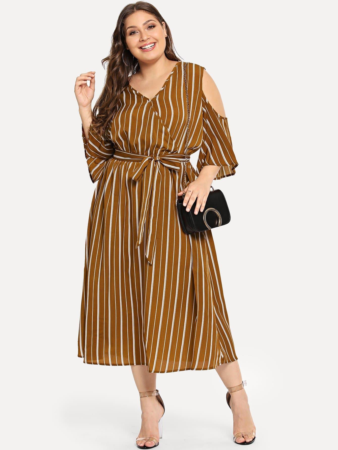 Купить Большое тонкое полосатое платье и с V воротником, Carol, SheIn