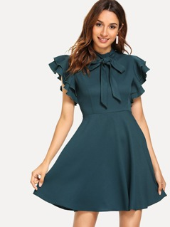 Flutter Sleeve Fit & Flare Dress